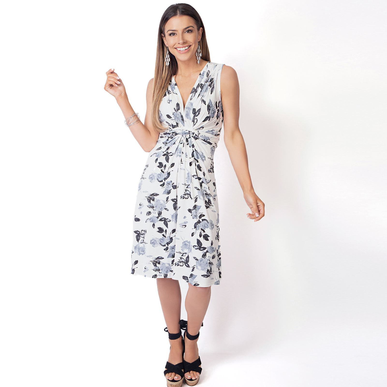 Womens-Floral-Print-Dress-Midi-Drape-Ruched-Front-Knot-Tie-Belt-Casual-Party thumbnail 6