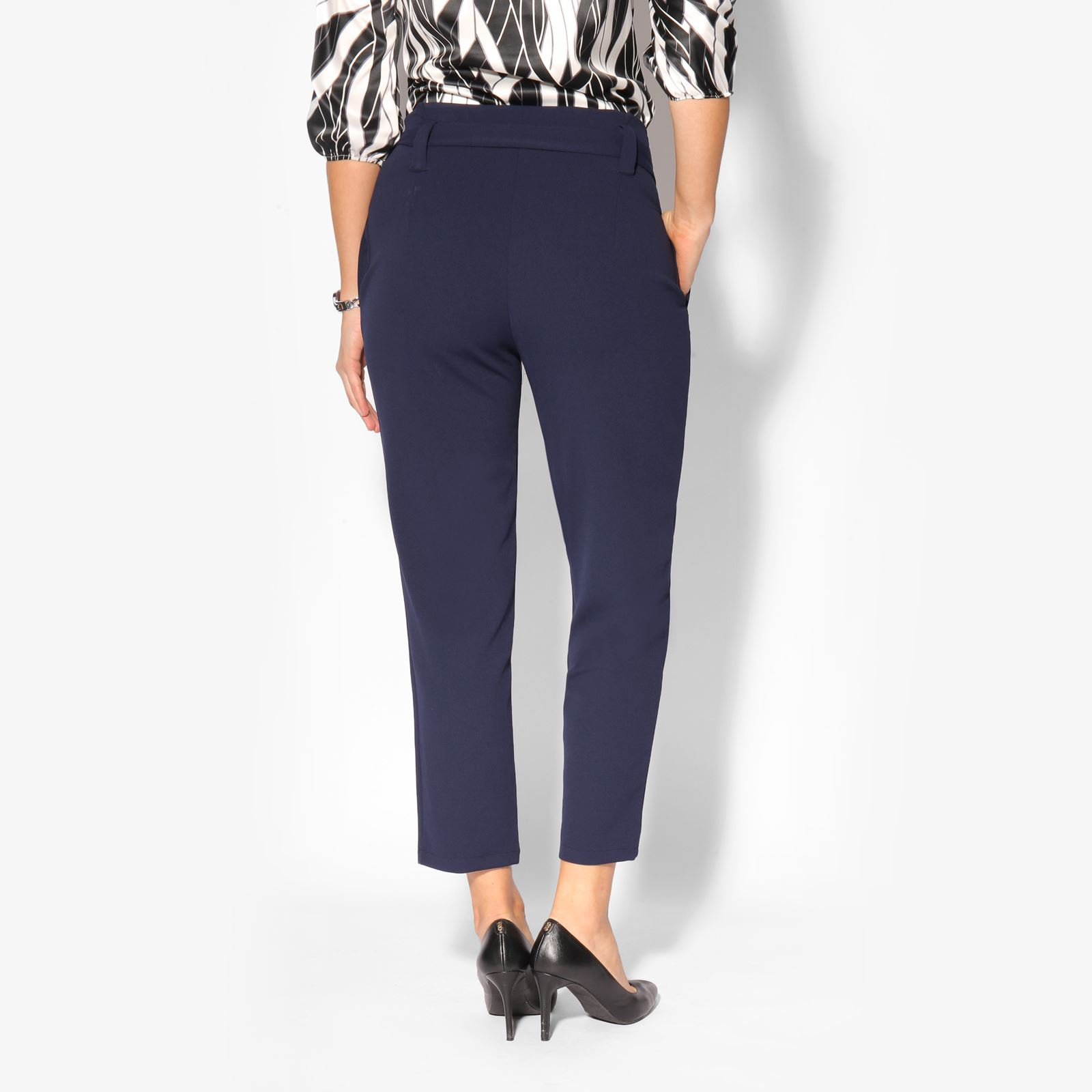 Women-High-Waist-Tapered-Pencil-Paperbag-Ladies-Trousers-Cigarette-Pants-Size thumbnail 5