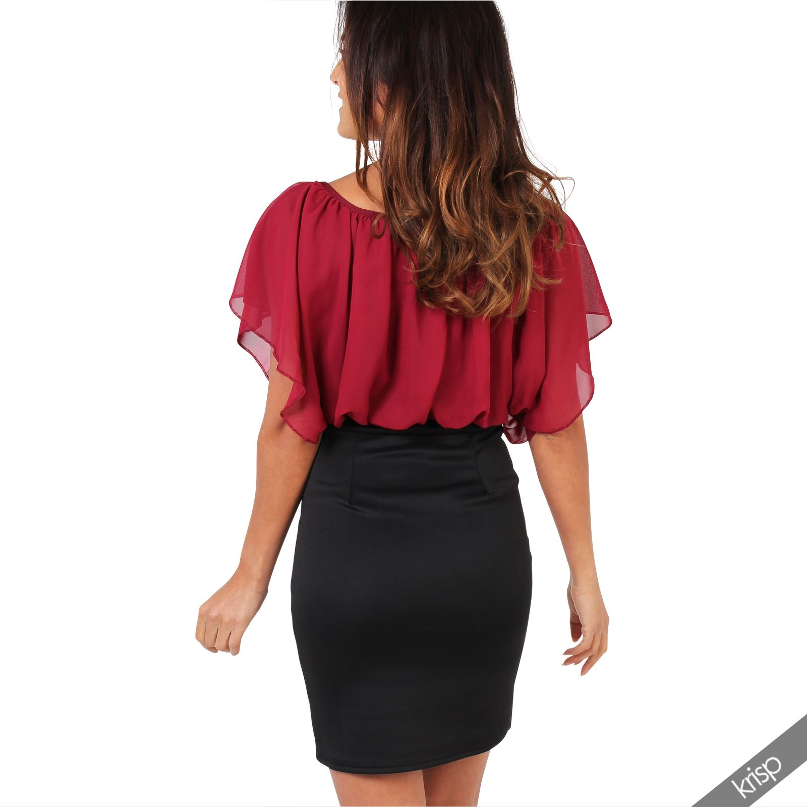 Womens-Pleated-Chiffon-Batwing-Top-High-Waist-Pencil-Bodycon-Skirt-Mini-Dress thumbnail 37