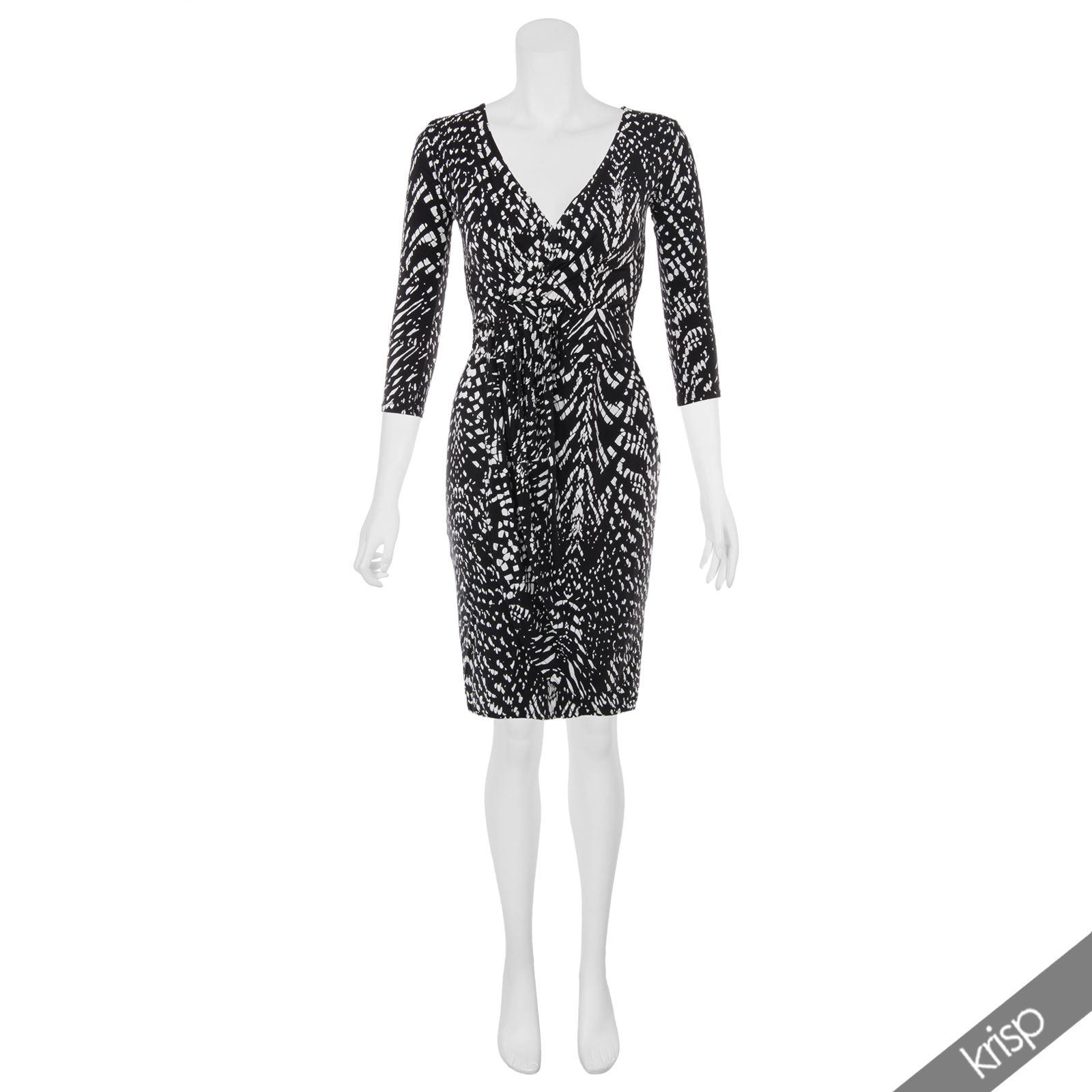 Womens-V-Neck-Dress-Top-Bodycon-Skirt-Midi-Snakeskin-Print-Cross-Over-Party-Wrap thumbnail 7
