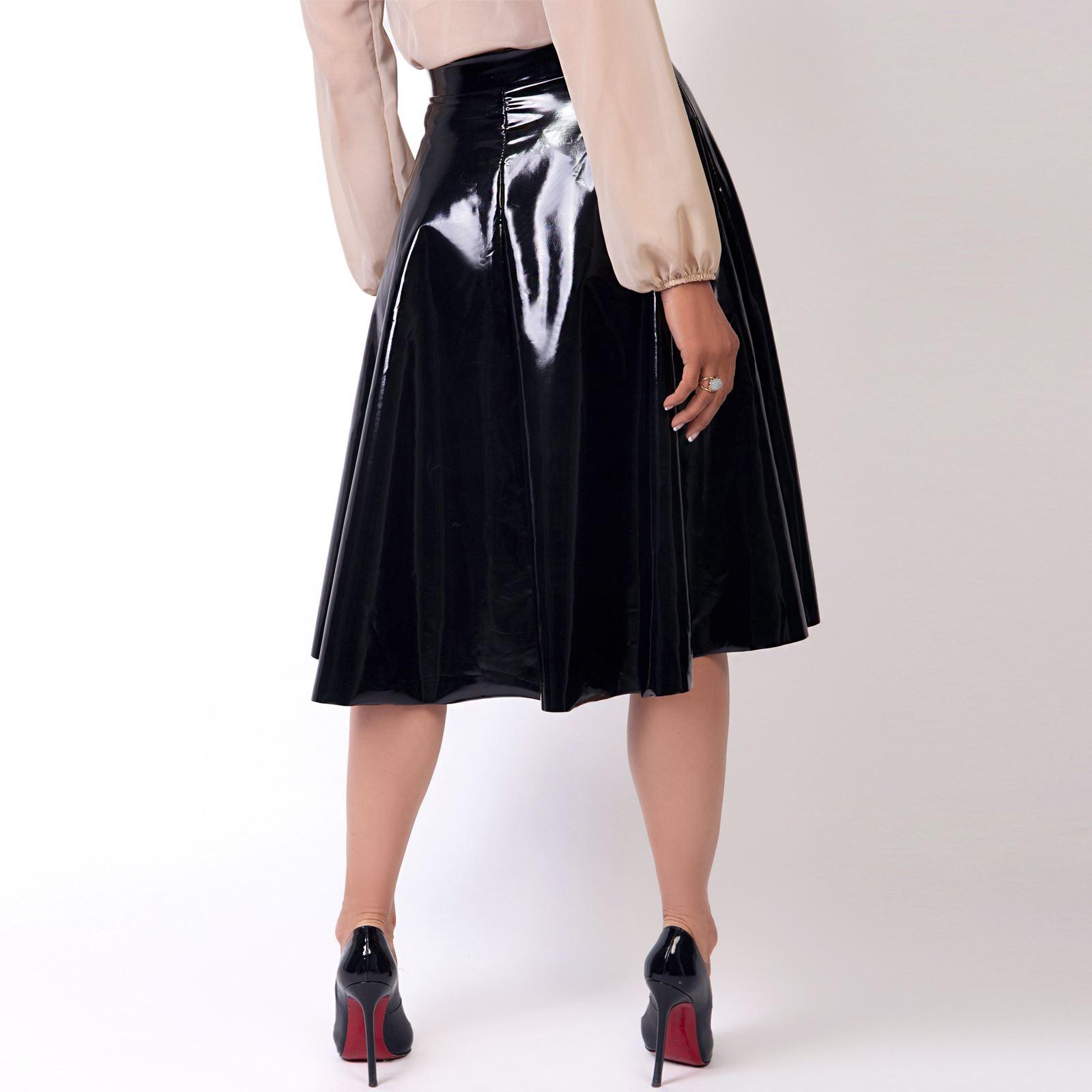Womens-Ladies-PVC-Leather-Skirt-Pleated-Midi-Flared-A-Line-Full-Swing-High-Waist thumbnail 6