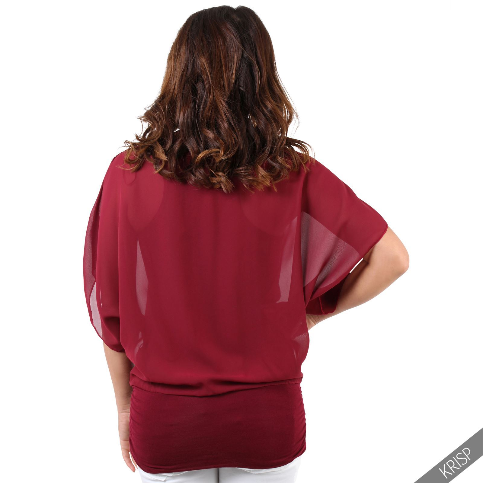 Womens-Scoop-Neck-Blouse-Baggy-Batwing-T-Shirt-Top-Ladies-Oversized-Chiffon-2in1 thumbnail 35