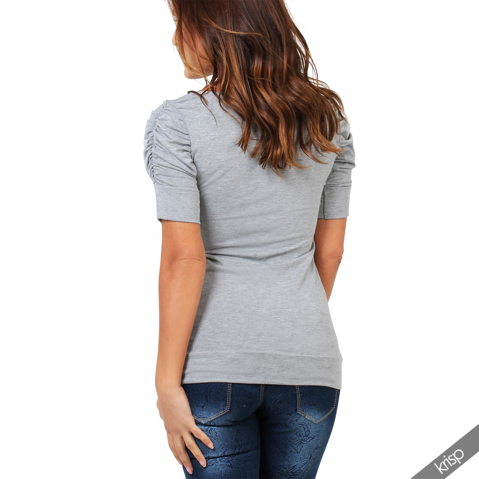 Womens-Ladies-Long-Blouse-Ruched-Pleated-Sleeve-Stretch-Jersey-Plunge-Top-Tshirt thumbnail 12