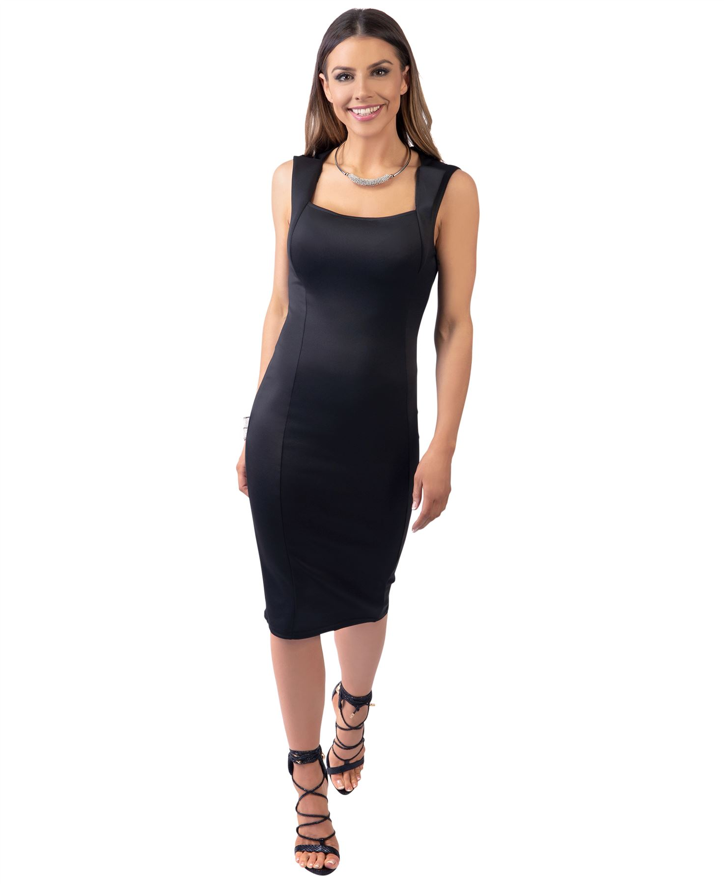 Womens-Pencil-Midi-Bodycon-Dress-Square-Neck-Panelled-Sexy-Zip-Party-Evening thumbnail 3