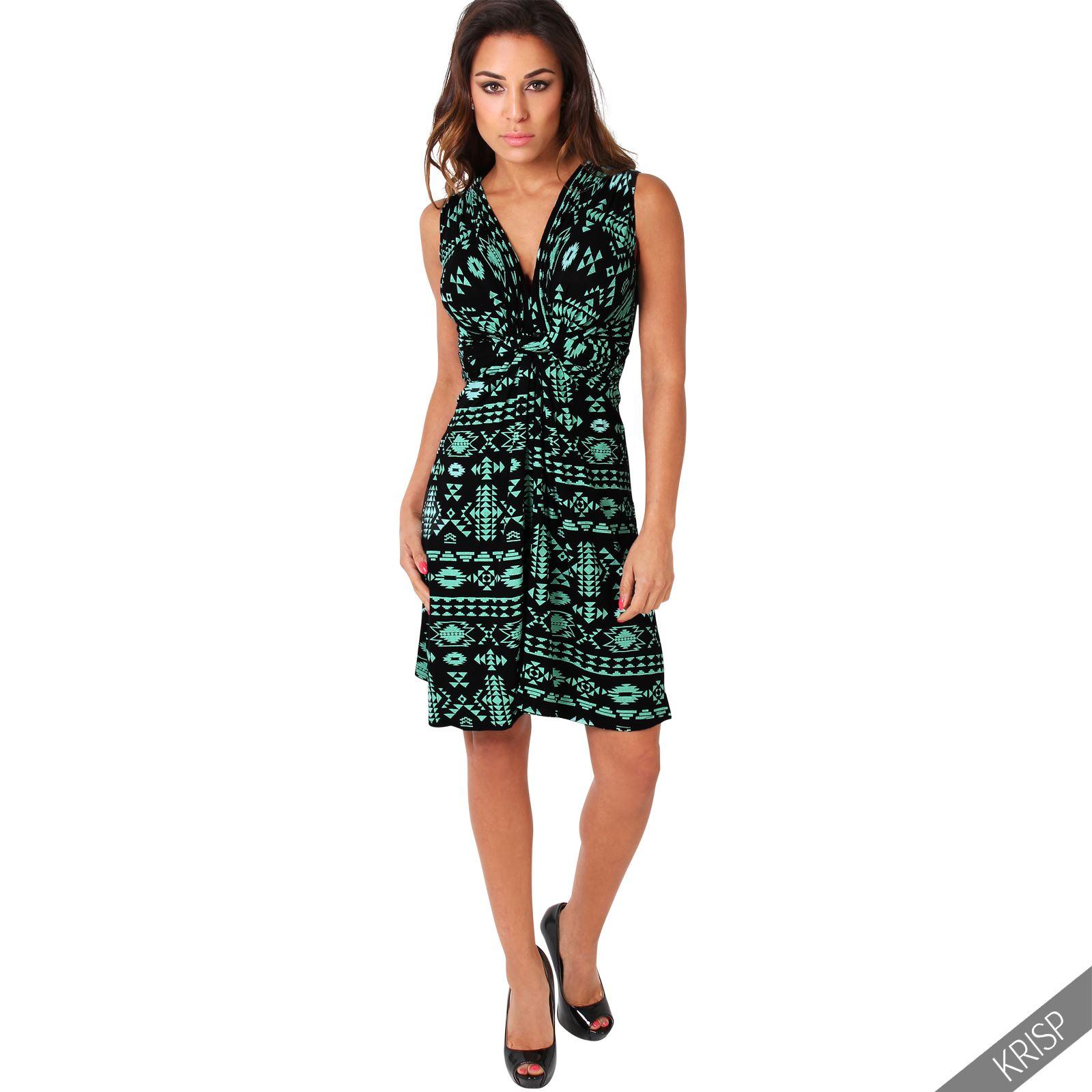 Womens-V-Neck-Mini-Dress-Small-Sizes-Short-Skirt-Tribal-Print-Front-Knot-Party thumbnail 18