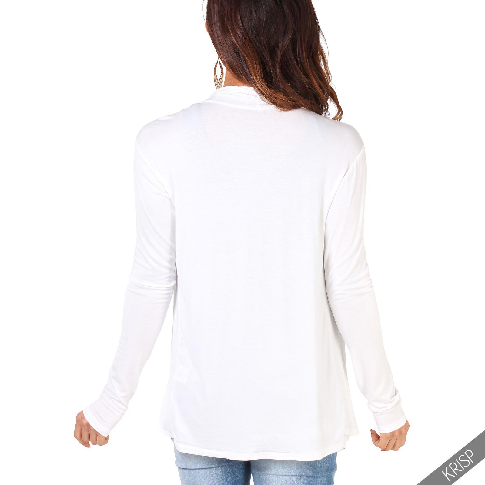 Rebeca-Mujer-Asimetrica-Chaqueta-Punto-Cascada-Abierta-Cardigan-Basico-Solapas miniatura 17
