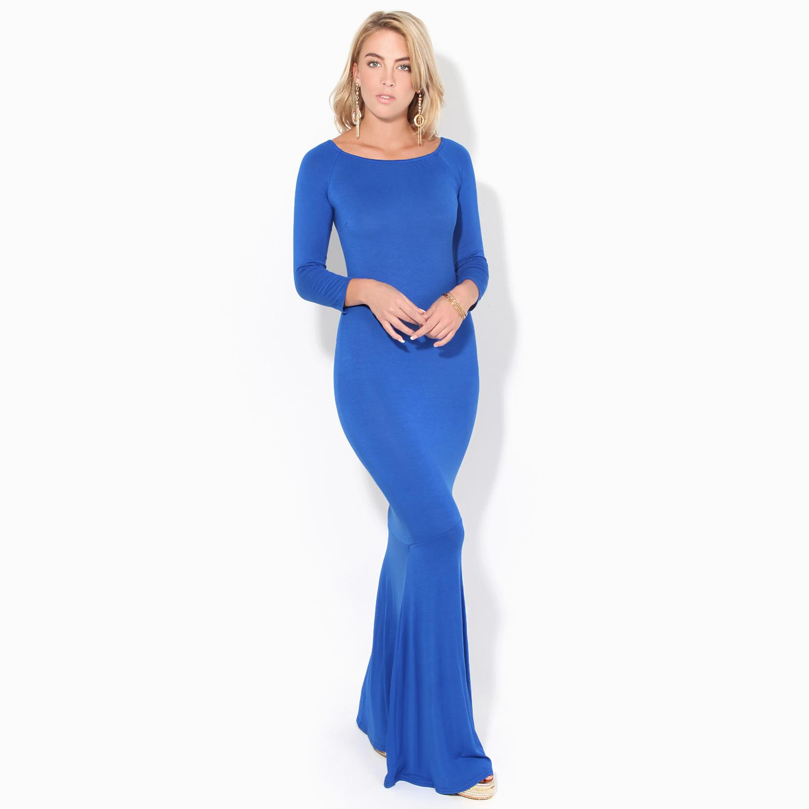 Womens-Ladies-Bodycon-Maxi-Dress-Off-Shoulder-Fishtail-Bardot-Long-Evening-Party thumbnail 9