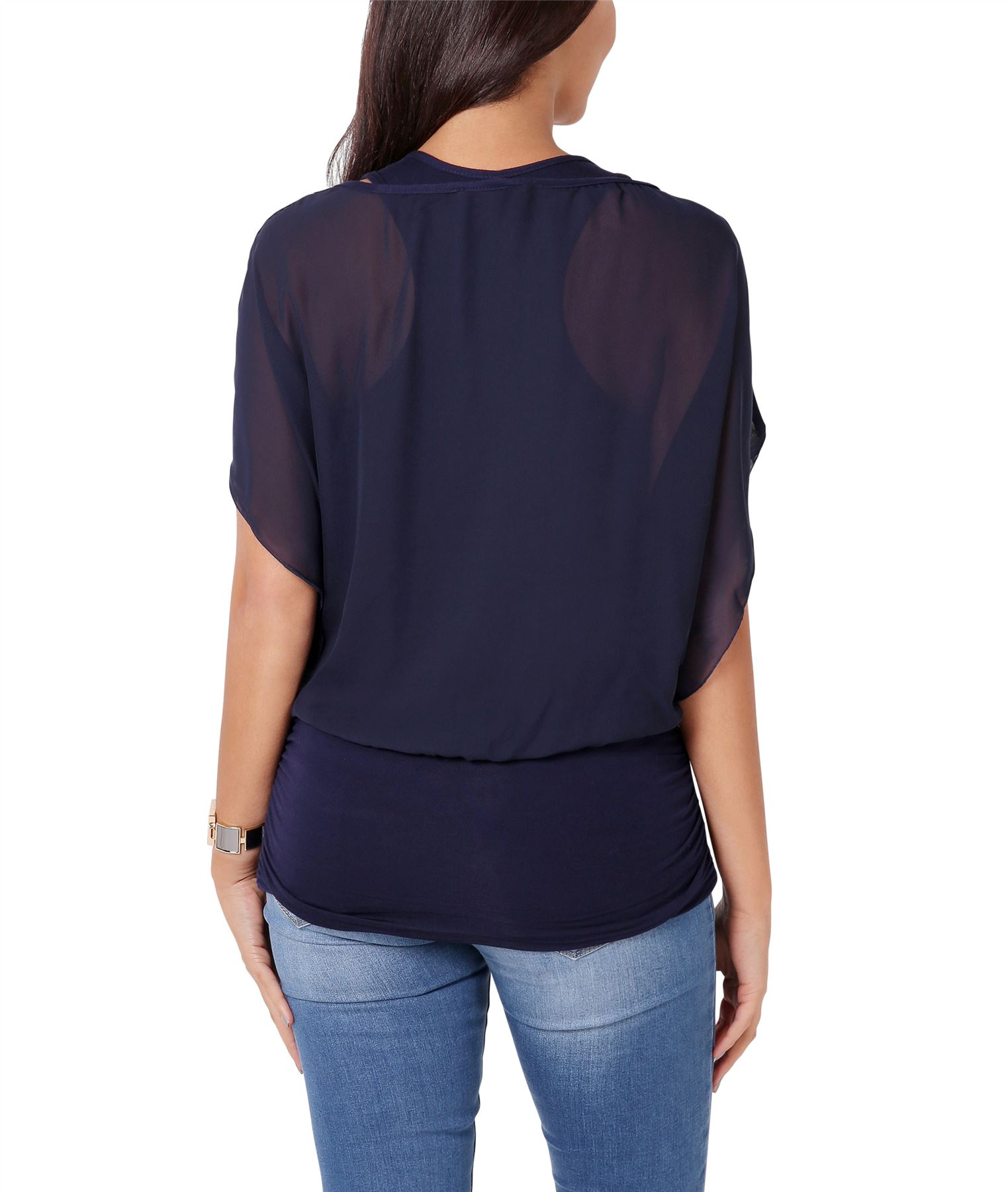Womens-Scoop-Neck-Blouse-Baggy-Batwing-T-Shirt-Top-Ladies-Oversized-Chiffon-2in1 thumbnail 21