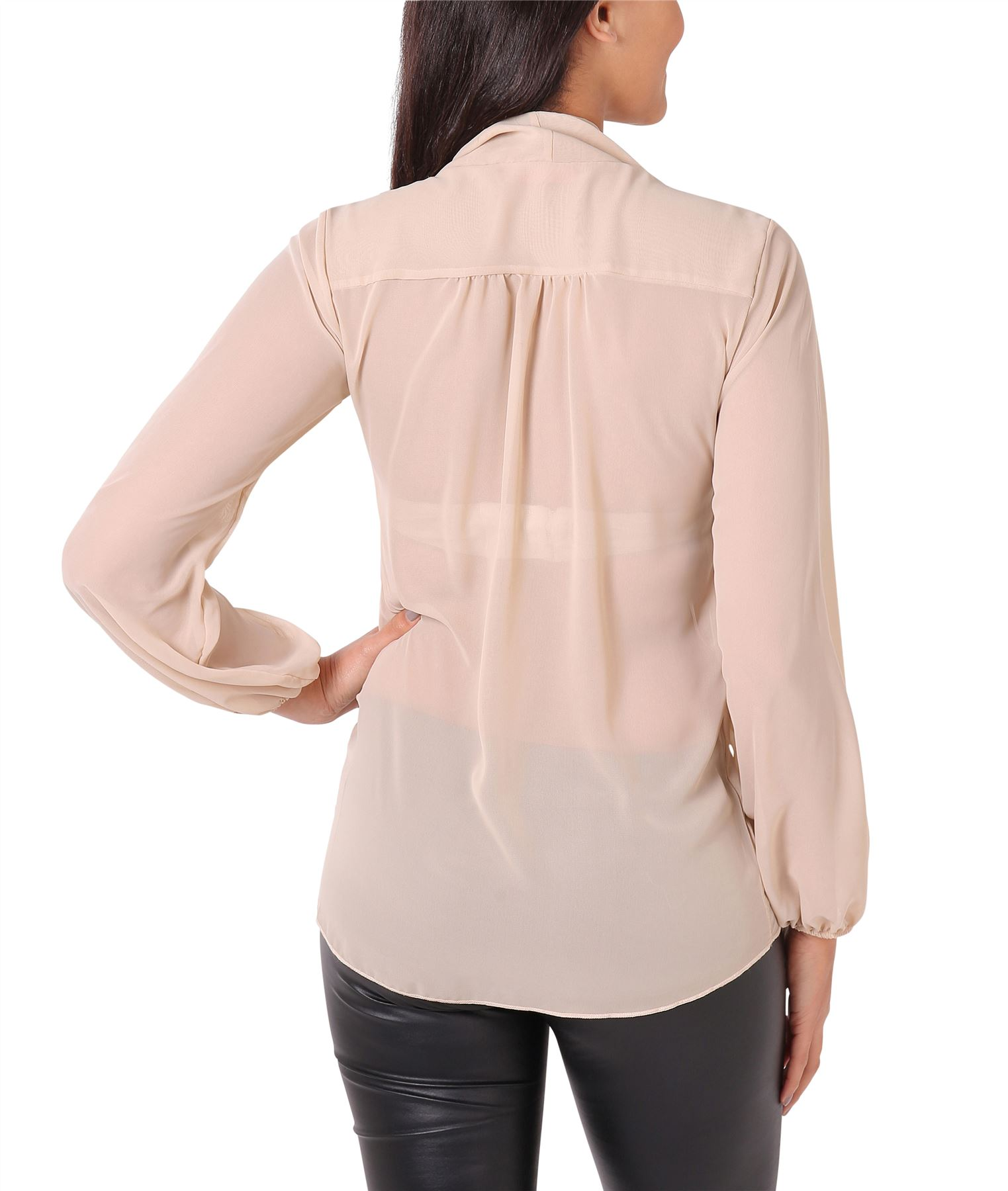 Womens-Ladies-Chiffon-Blouse-Long-Sleeve-Pussy-Bow-Top-Plain-Shirt-Office-Party thumbnail 21