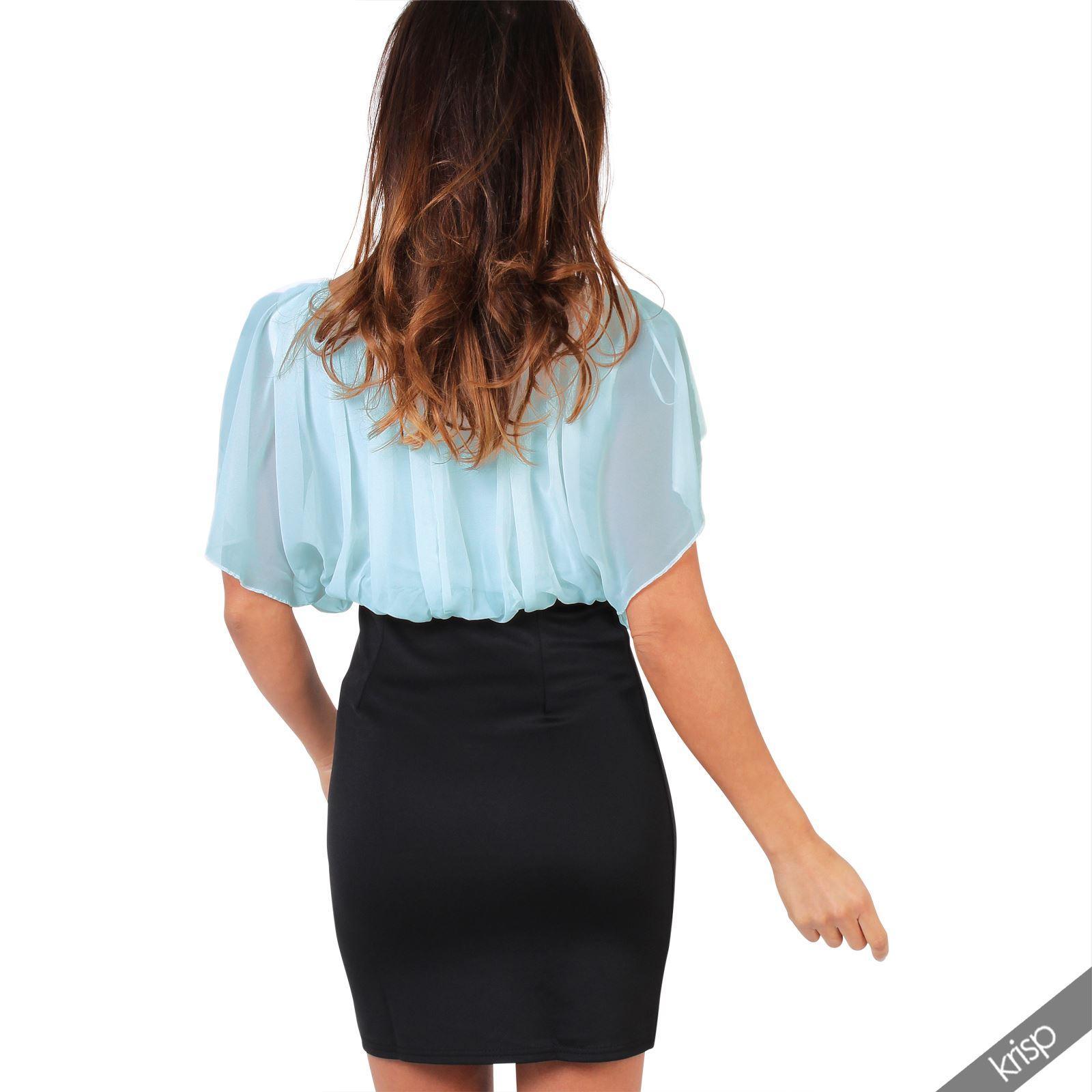 Womens-Pleated-Chiffon-Batwing-Top-High-Waist-Pencil-Bodycon-Skirt-Mini-Dress thumbnail 4