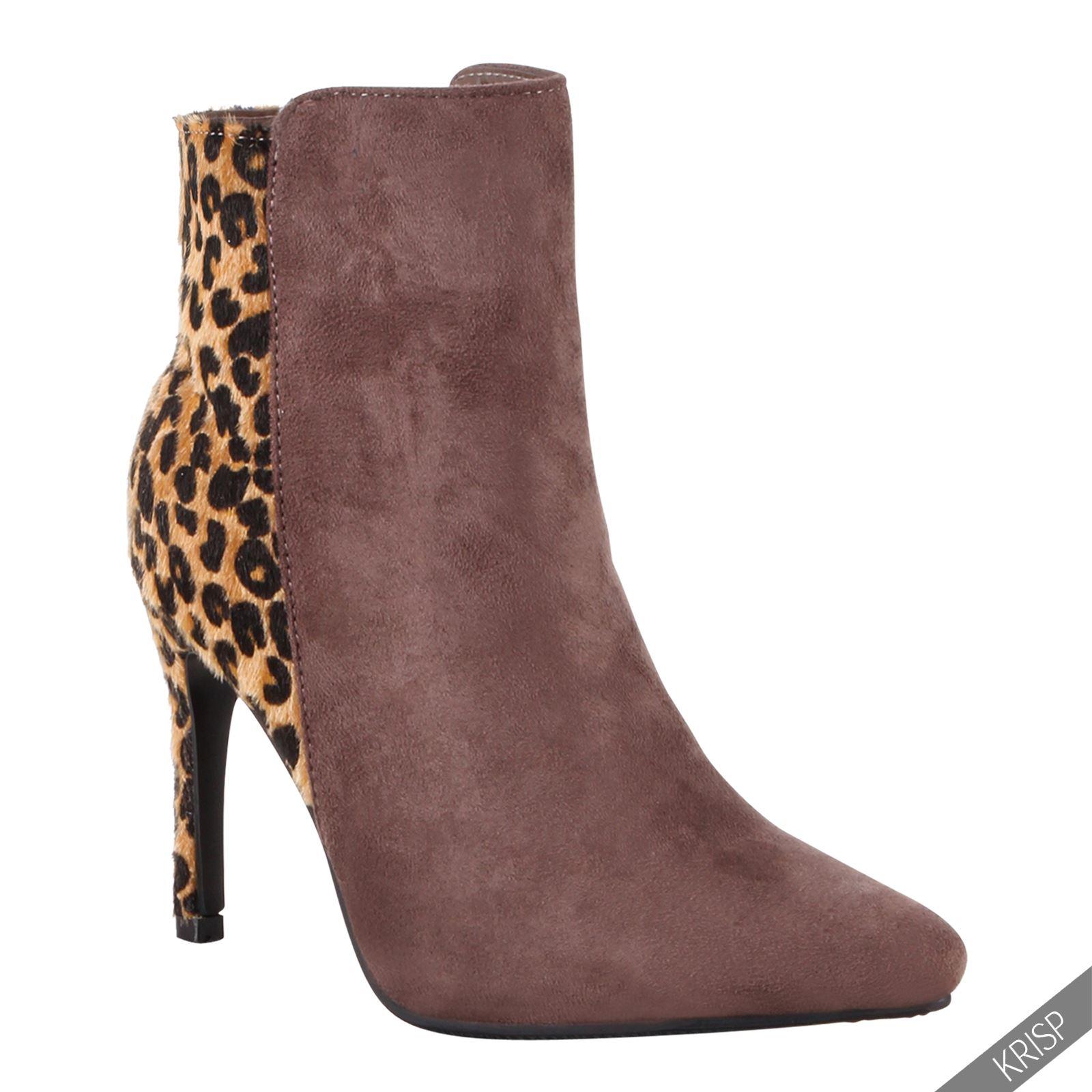 damen leoparden stiefeletten mit absatz gef ttert ankle boots winter warm ebay. Black Bedroom Furniture Sets. Home Design Ideas