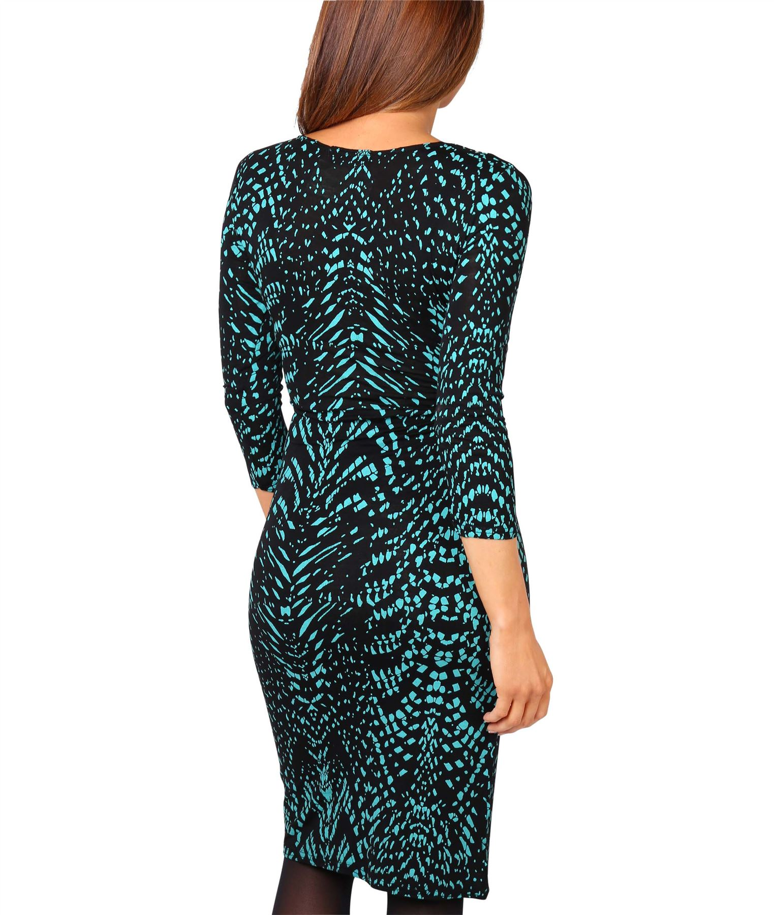 Womens-V-Neck-Dress-Top-Bodycon-Skirt-Midi-Snakeskin-Print-Cross-Over-Party-Wrap thumbnail 19