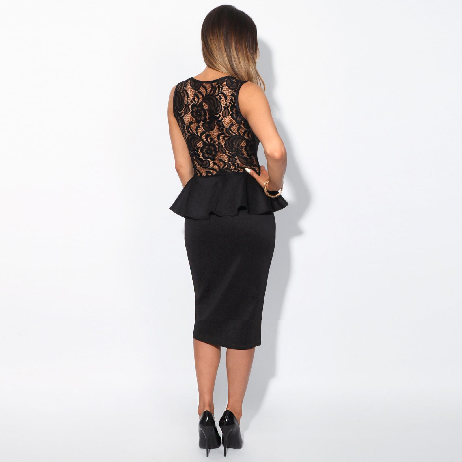 Womens-Ladies-Pencil-Lace-Dress-Mini-Midi-Skirt-Bodycon-Stretch-Frill-Party thumbnail 4