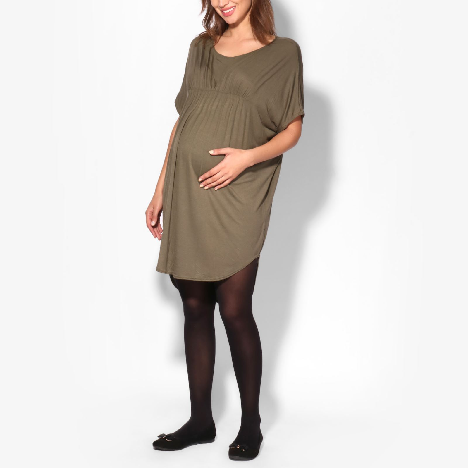 Maternity-Dress-Empire-Line-Top-Long-Loose-T-Shirt-Batwing-Tunic-Pregnancy-Plus thumbnail 7