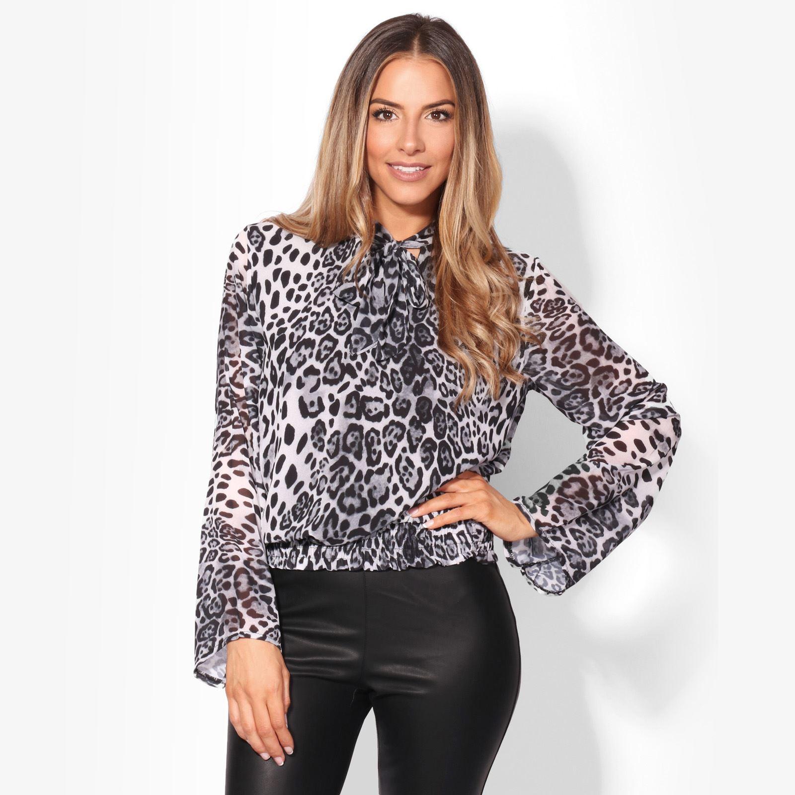 Women-Leopard-Chiffon-Tie-Pussy-Bow-Neck-Waist-Blouse-Top-Loose-Pleated-Shirt