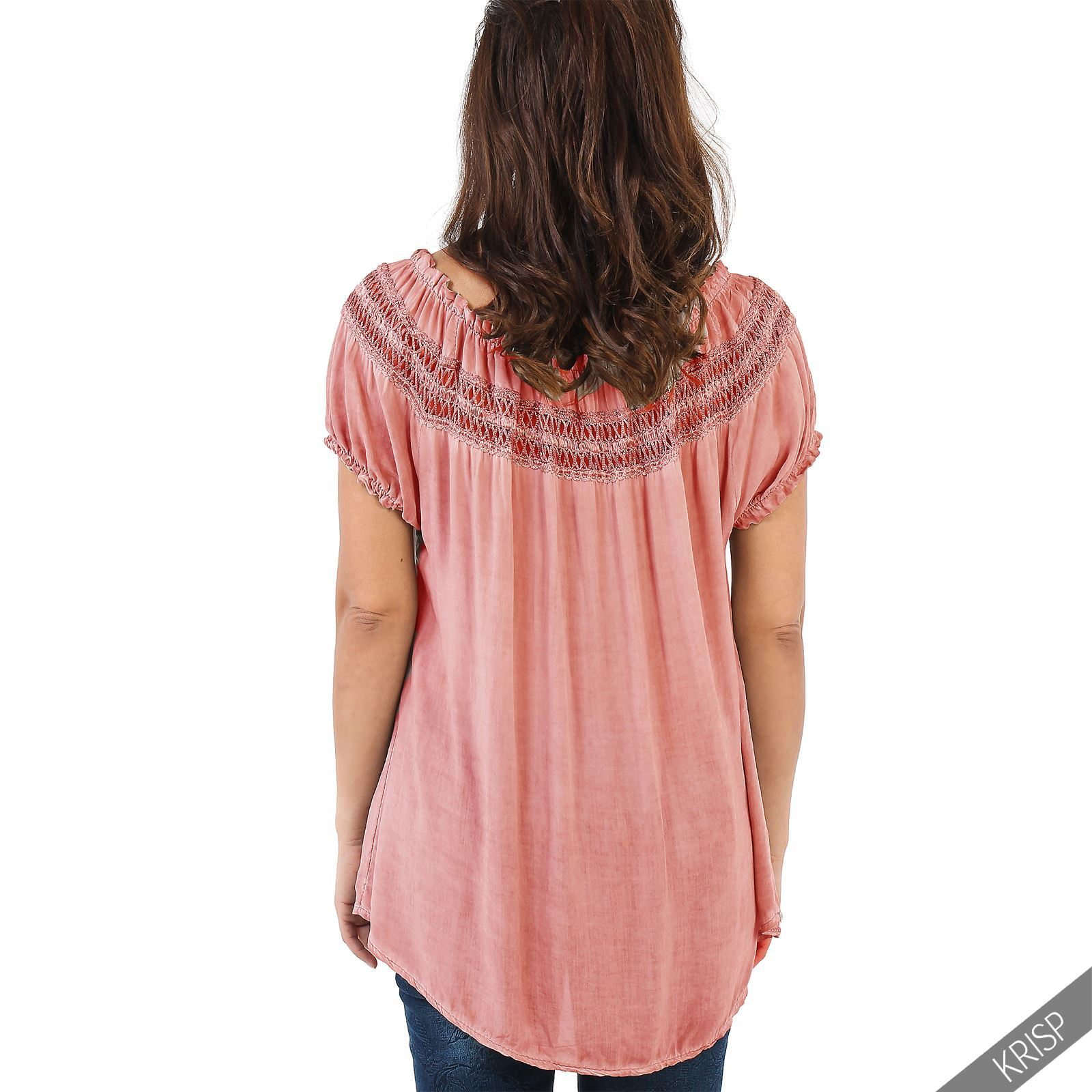 Womens-Off-Shoulder-Blouse-Gypsy-Boho-Cotton-T-Shirt-Top-Tunic-Summer-Loose-Fit thumbnail 5
