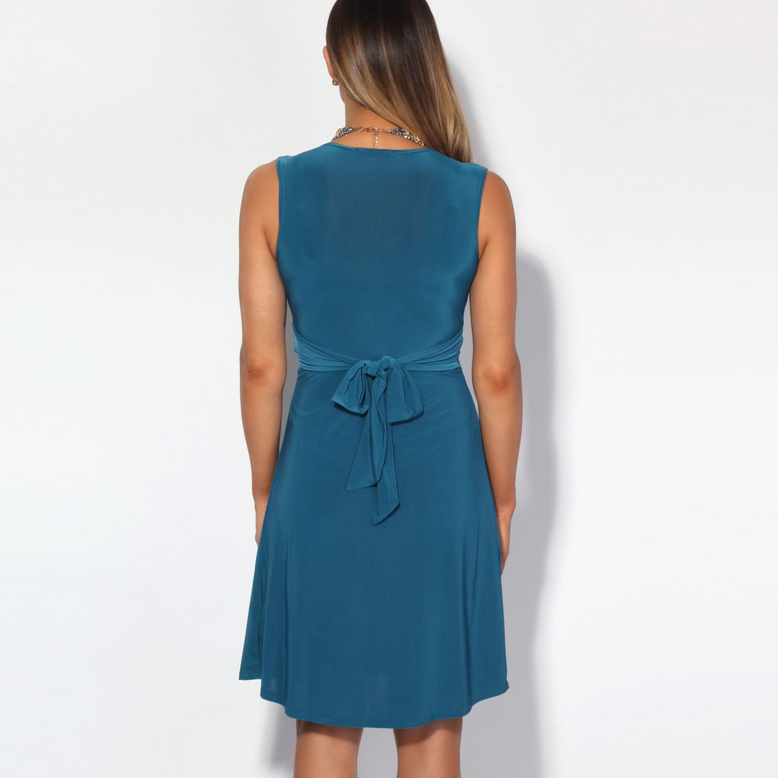 Ruched-Drape-Twist-Knot-Front-Mini-Dress-Tie-Belted-Party-Summer-Casual-Beach
