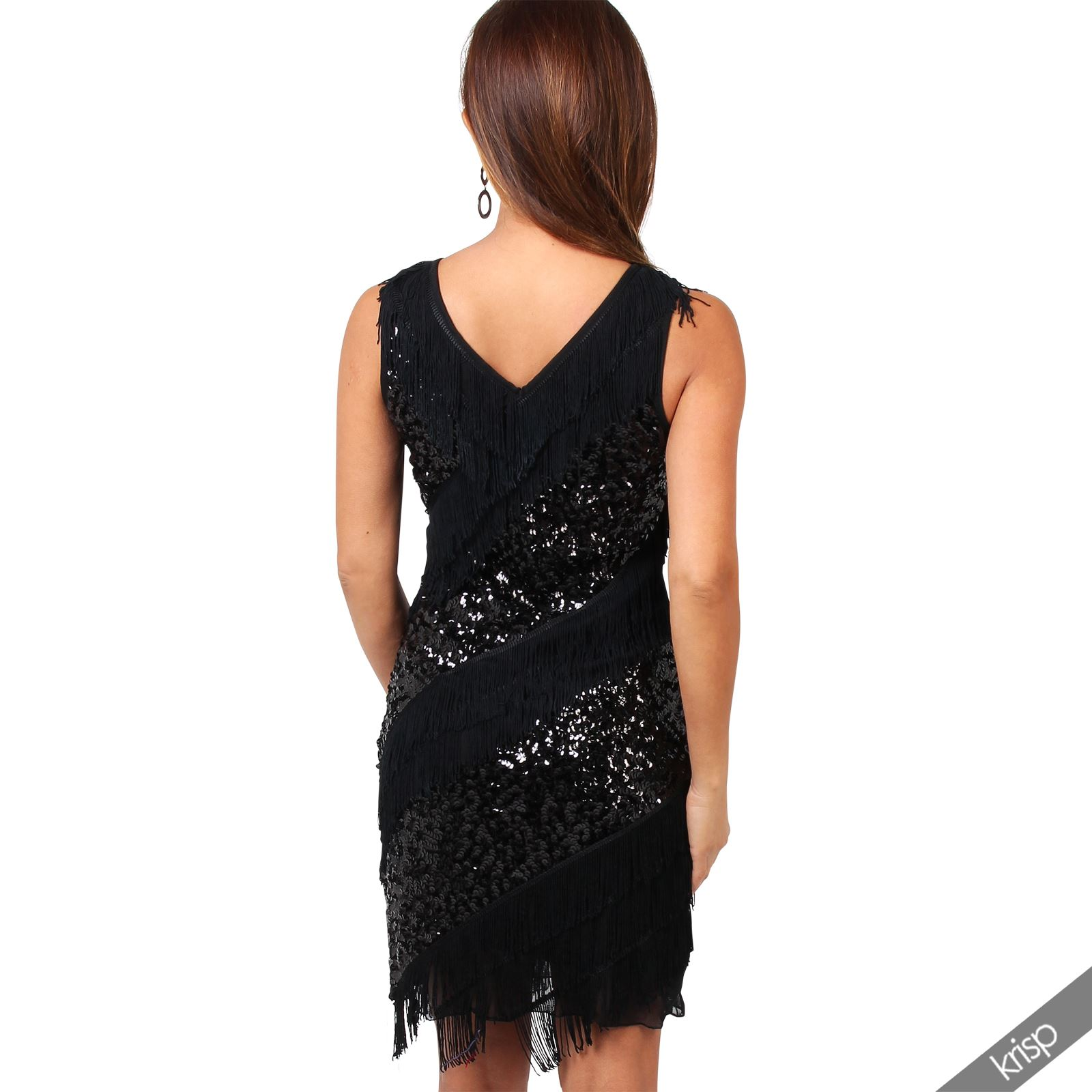 Womens Vintage Sequin Fringe Tassel Flapper Swing Gatsby Cocktail ...