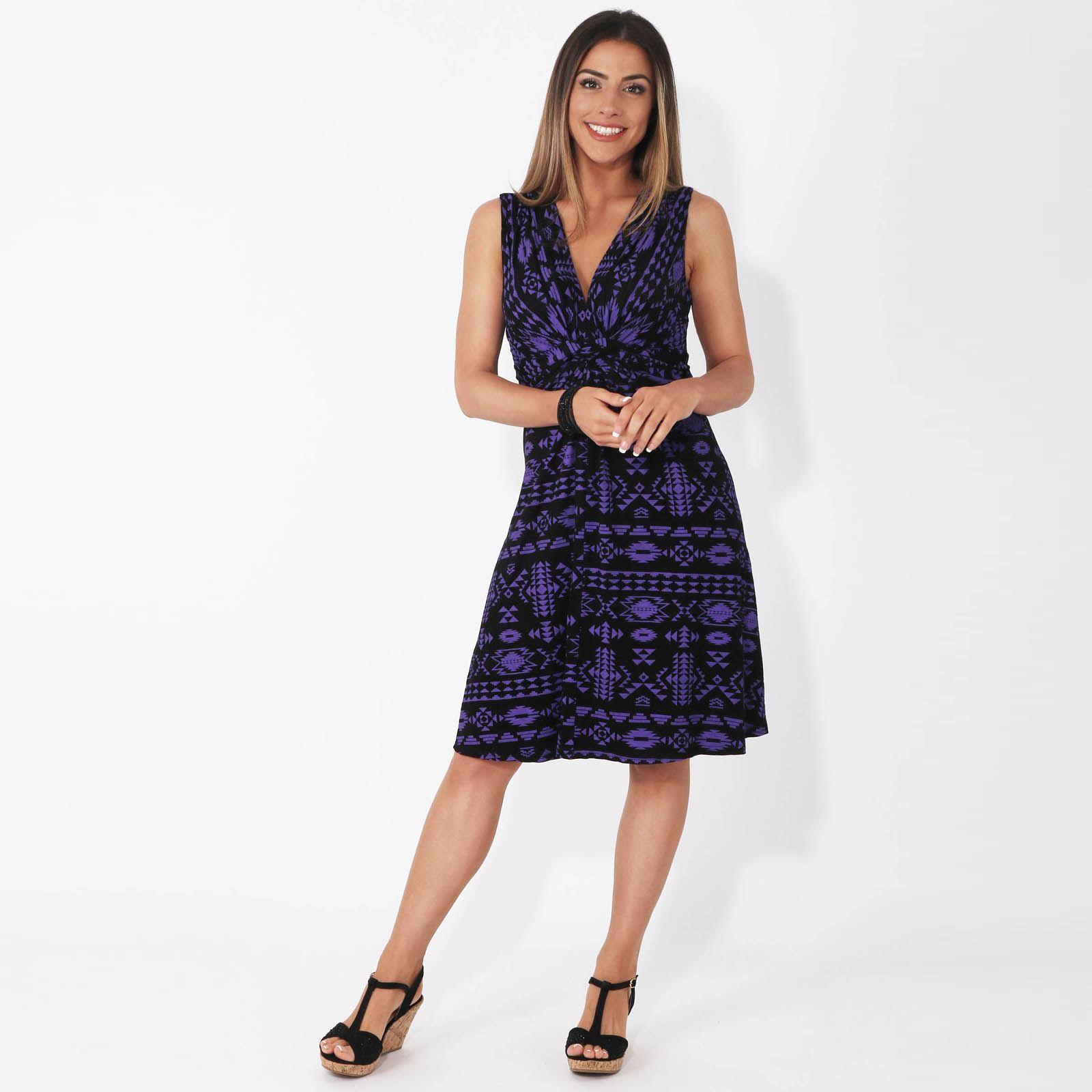 Womens-V-Neck-Mini-Dress-Small-Sizes-Short-Skirt-Tribal-Print-Front-Knot-Party thumbnail 13