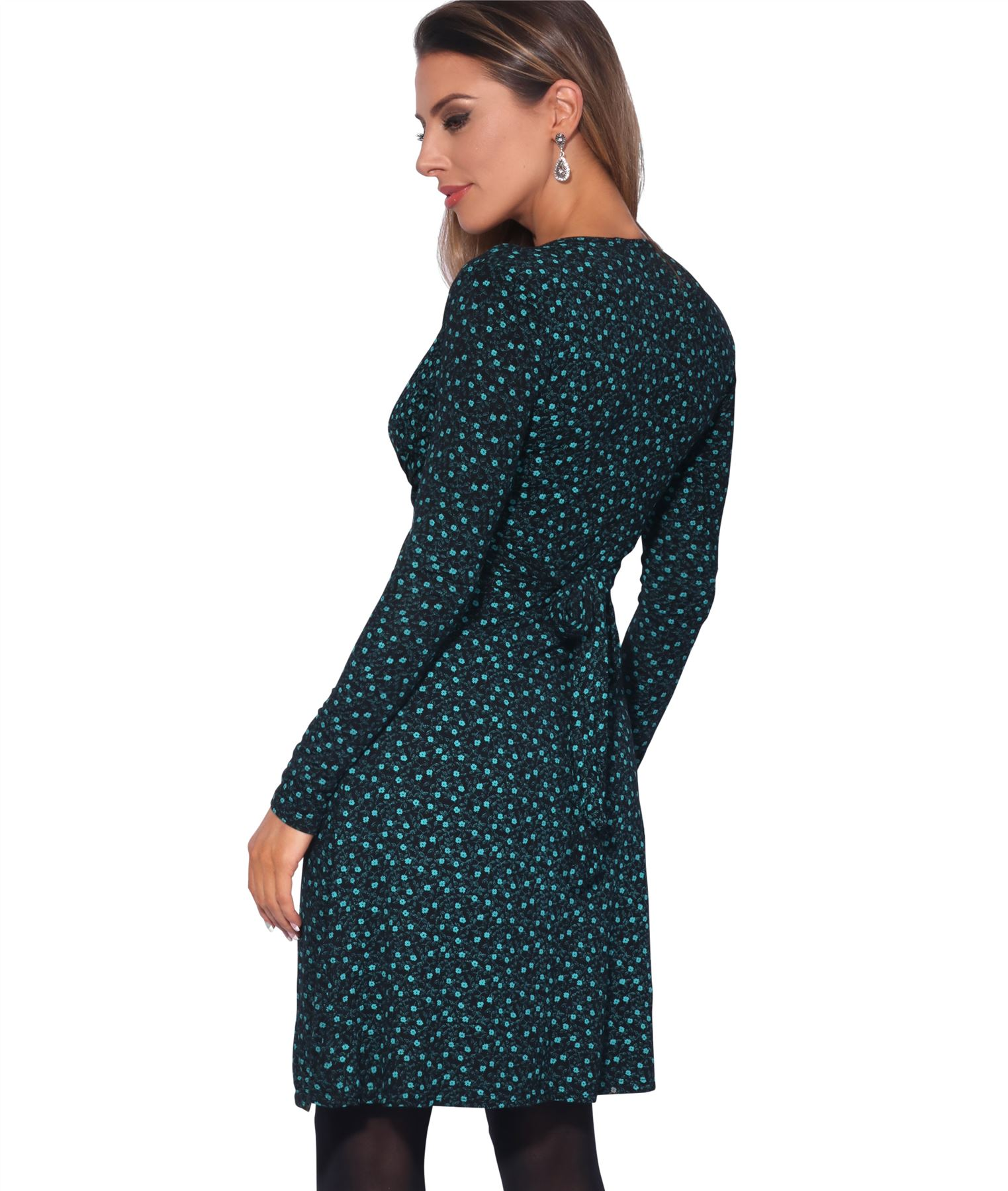 Womens-Ladies-Pattern-Dress-Drape-Print-Stretch-Long-Sleeve-Ruched-Knot-Party thumbnail 13