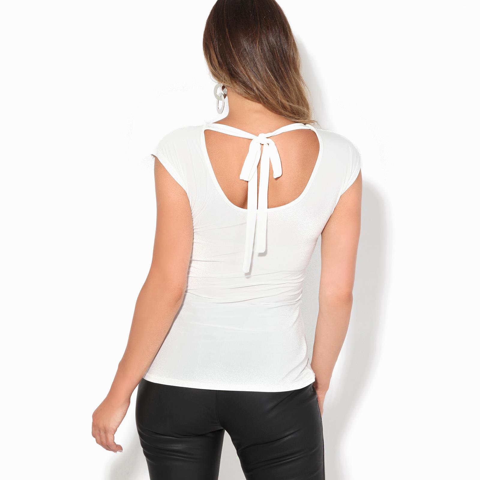 Femme-Top-Haut-Soiree-Decollete-N-ud-Dos-Chic-Sexy-Mode-Grande-Taille-Debardeur miniature 9