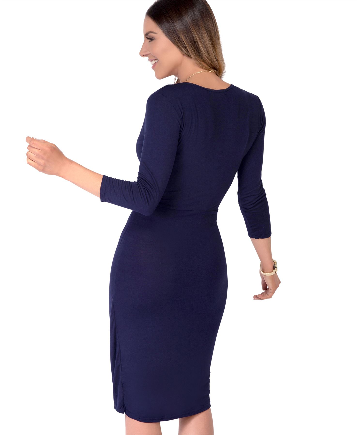 Womens-Ladies-Shift-Wrap-Dress-Midi-Knee-Long-Quarter-Sleeve-Sexy-Solid-Party thumbnail 19