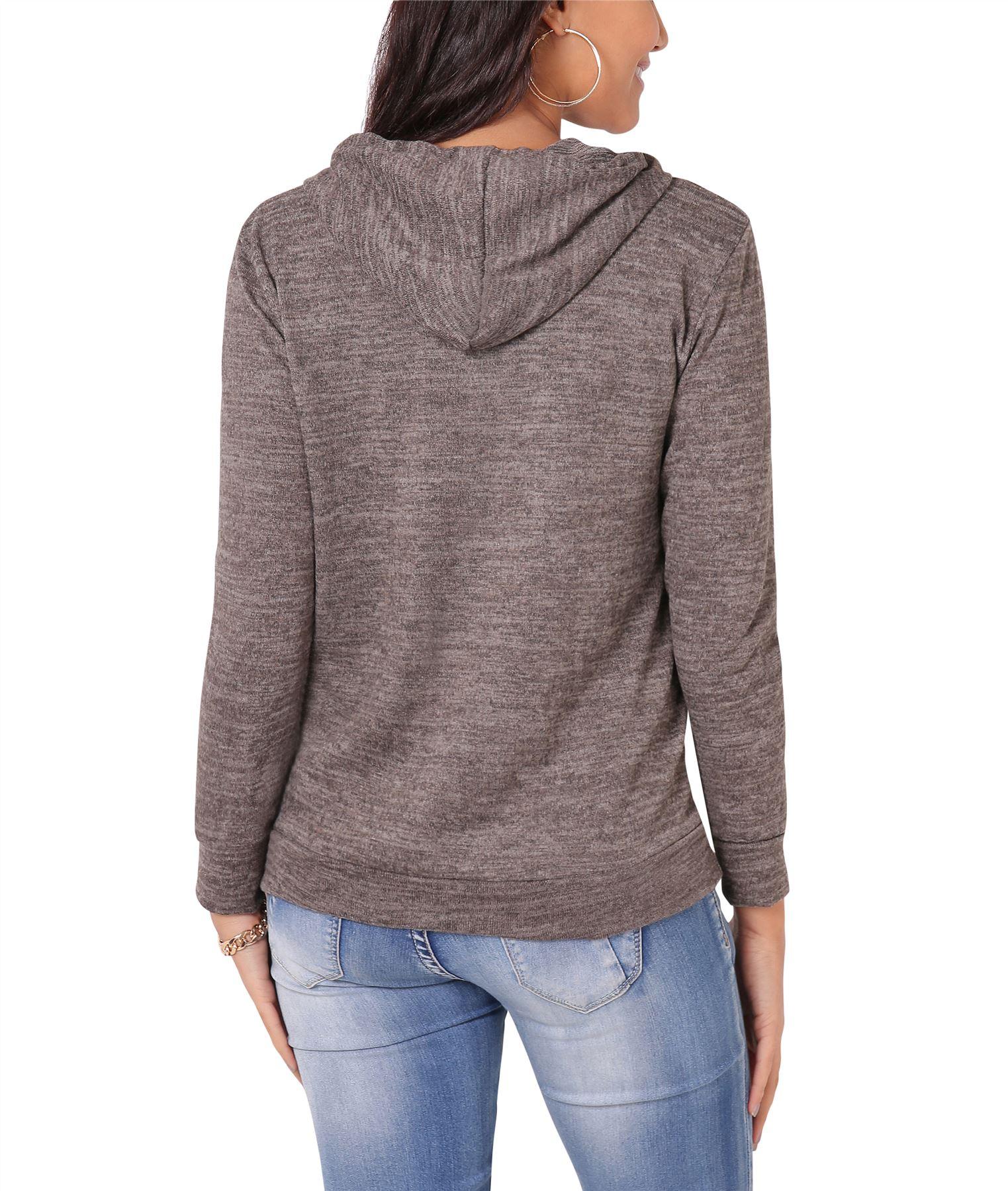 Womens-Soft-Marl-Knit-Hoodie-Hooded-Loose-Baggy-Jumper-Sweater-Top-Sweatshirt thumbnail 13