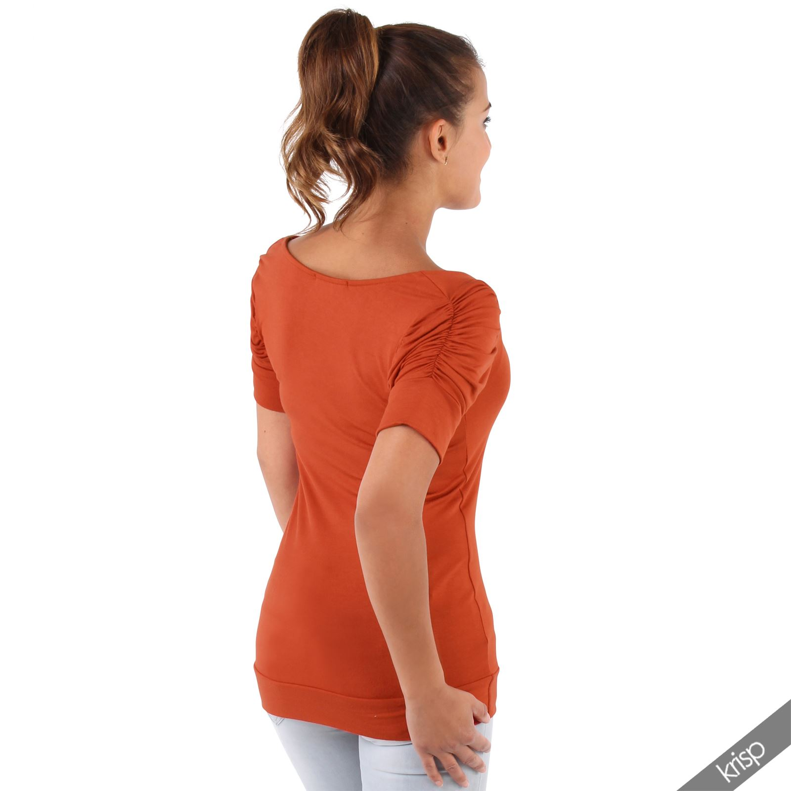 Womens-Ladies-Long-Blouse-Ruched-Pleated-Sleeve-Stretch-Jersey-Plunge-Top-Tshirt thumbnail 34