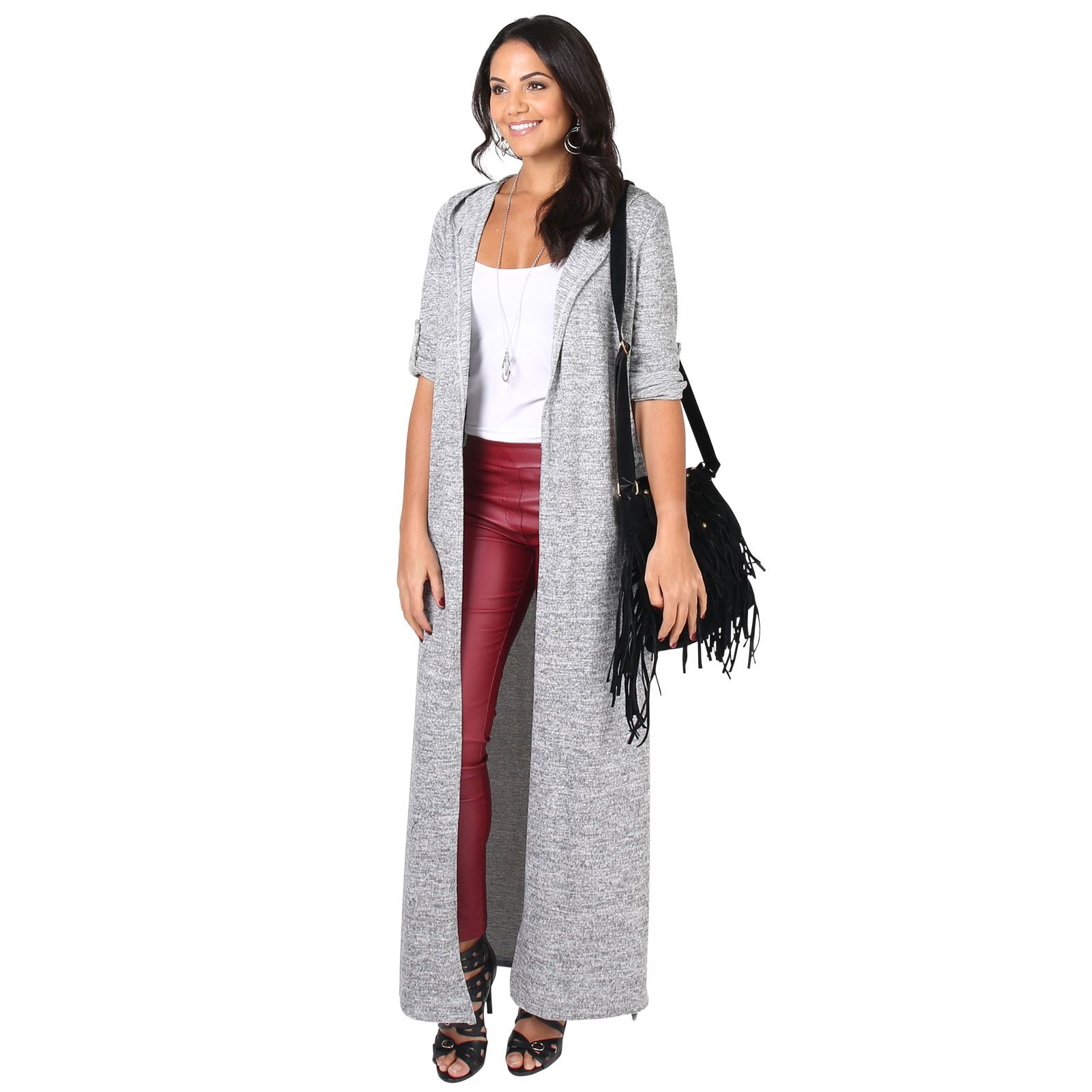 4b2a2d057270d Womens Soft Knit Hooded Long Cardigan Sweater Shrug Duster Coat US ...