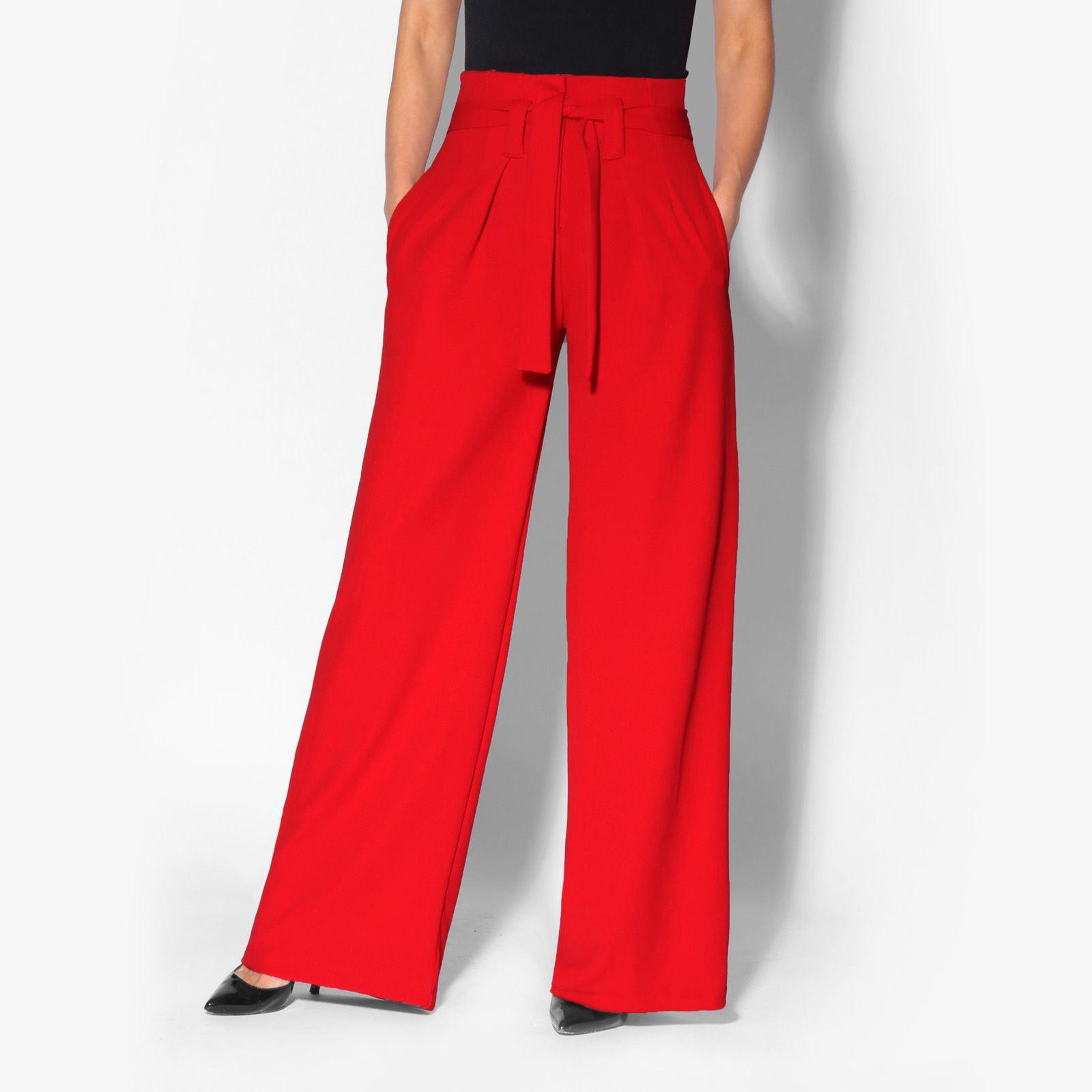 Pantalon-Femme-Grande-Taille-Ceinture-Haute-Pas-Cher-Evase-Fluide-Chic-Ample miniature 6