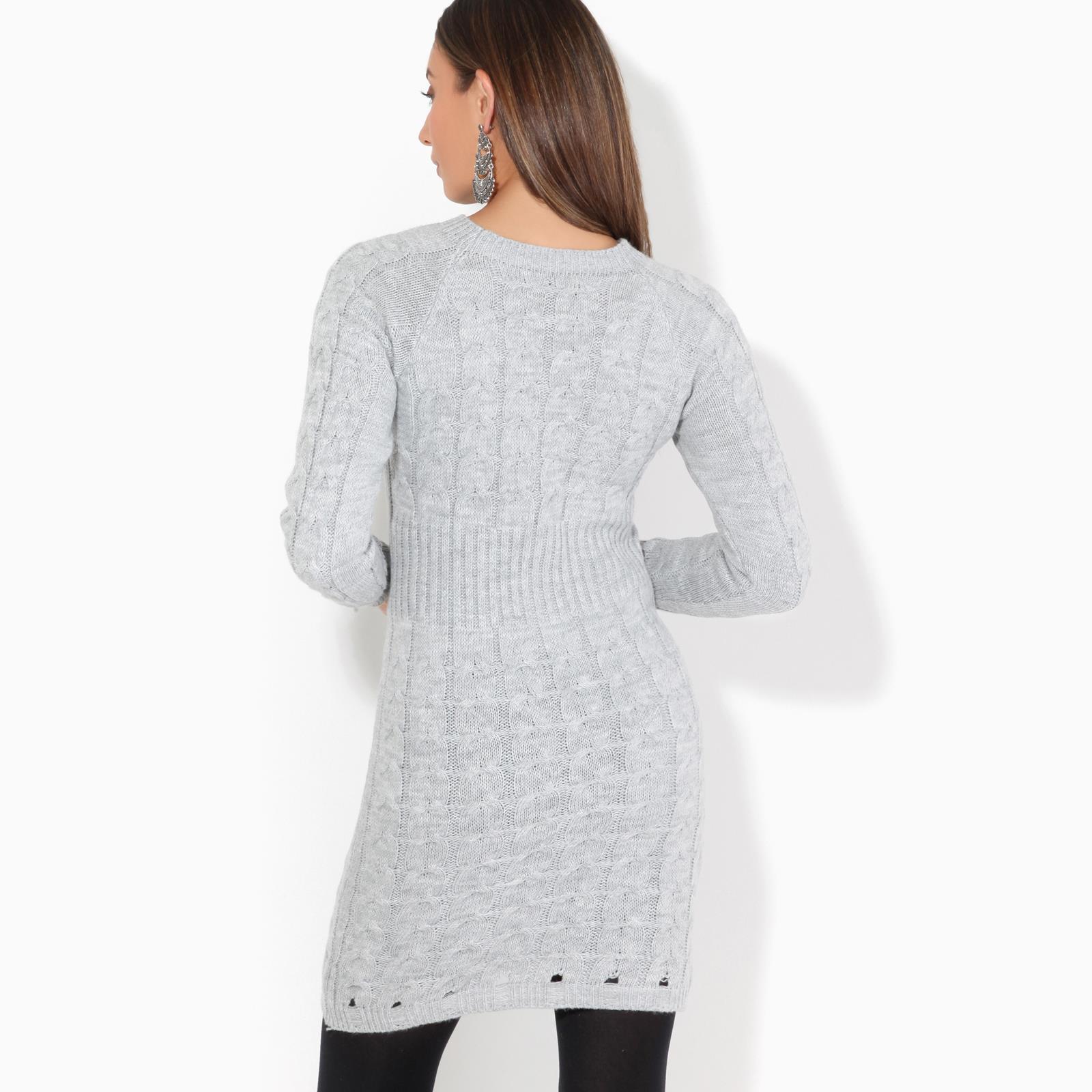 Womens-Ladies-Jumper-Dress-Longsleeve-Mini-Warm-Winter-Knit-Top-Bodycon thumbnail 13