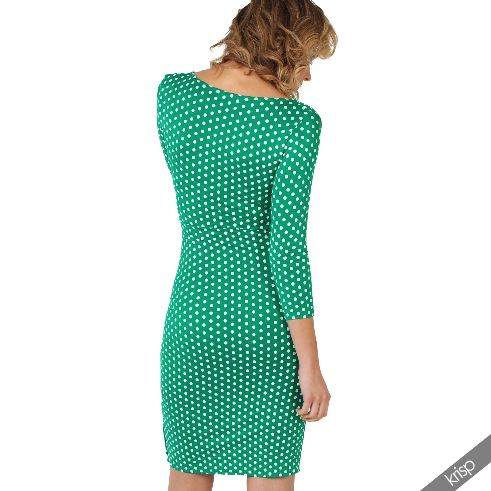 Womens-Polka-Dot-Dress-Pleated-Skirt-Wrap-Front-Midi-V-Neck-Top-Swing-Party thumbnail 7