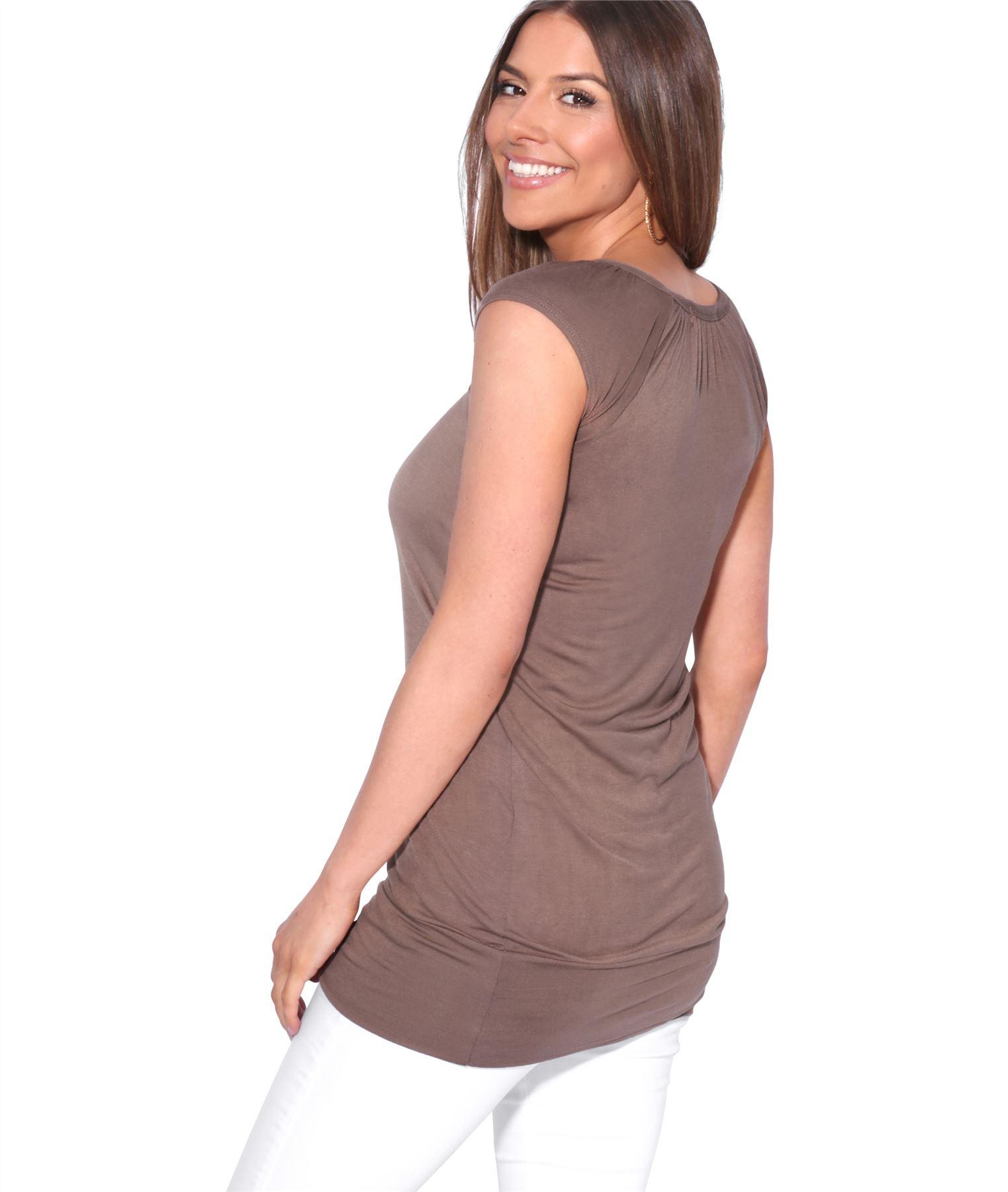 Womens-Ladies-Plain-T-Shirt-Short-Sleeve-Long-Loose-V-Neck-Blouse-Tunic-Top thumbnail 28