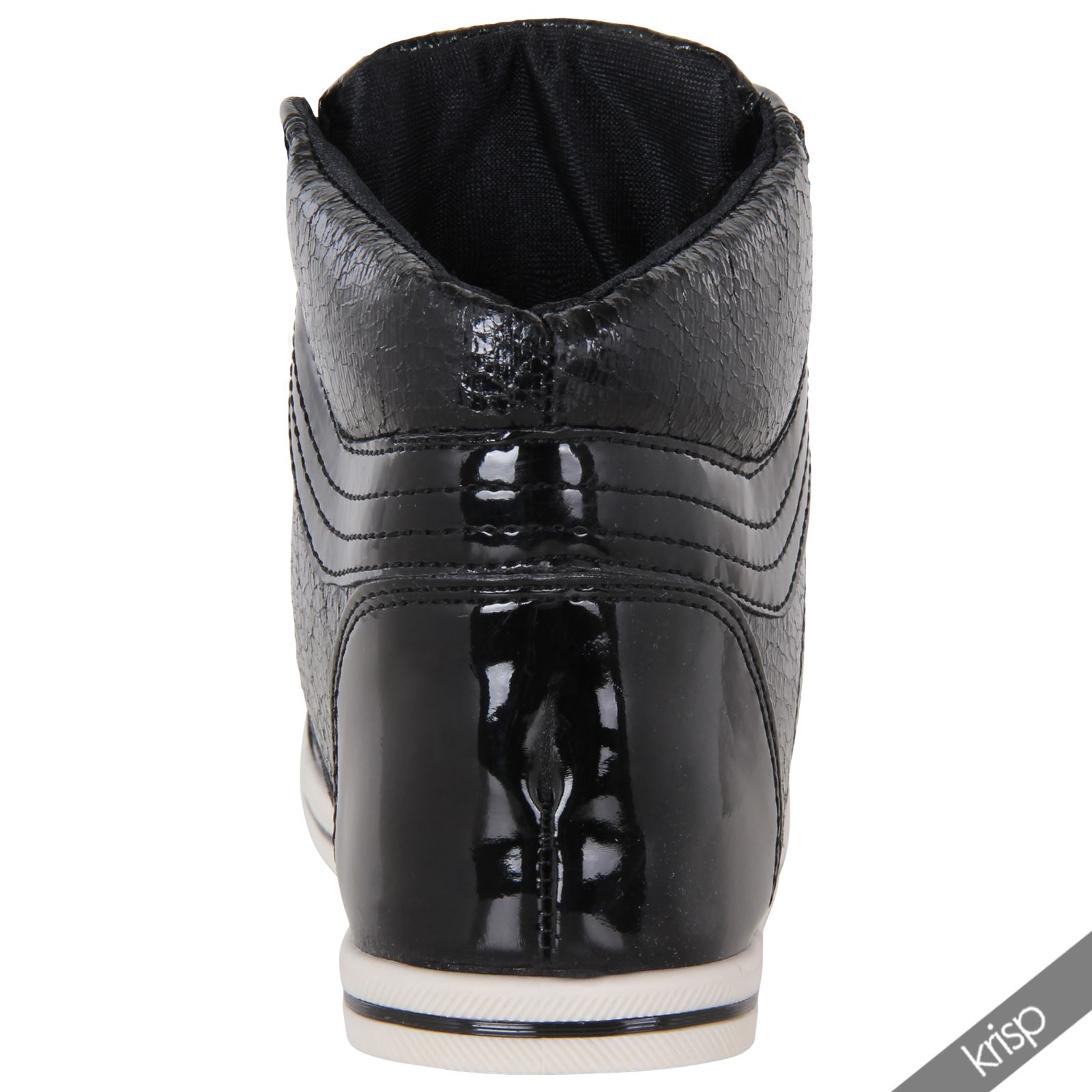 womens shiny patent leather metallic flat ankle trainers