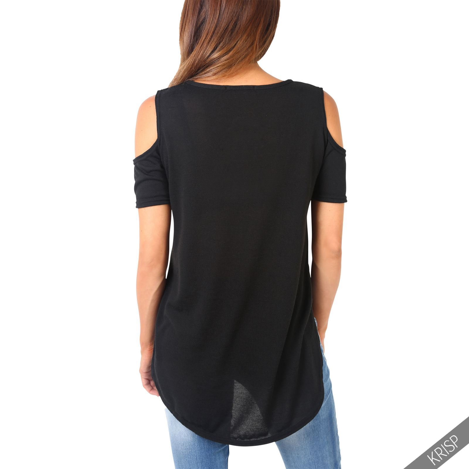 NEW WOMENS LADIES MARL KNIT CUT OUT SLEEVE COLD SHOULDER ASYMMETRIC T SHIRT TOP