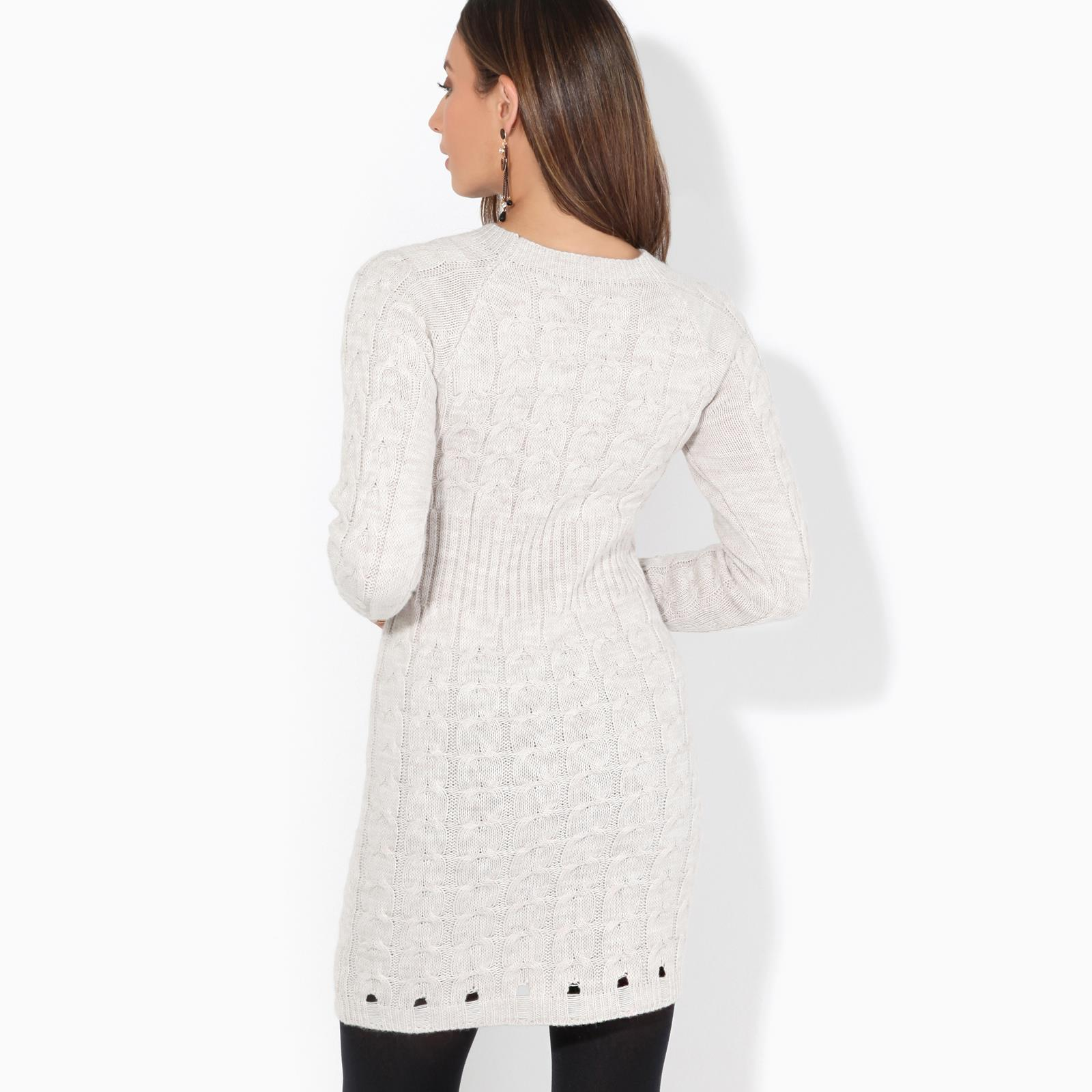 Womens-Ladies-Jumper-Dress-Longsleeve-Mini-Warm-Winter-Knit-Top-Bodycon thumbnail 4