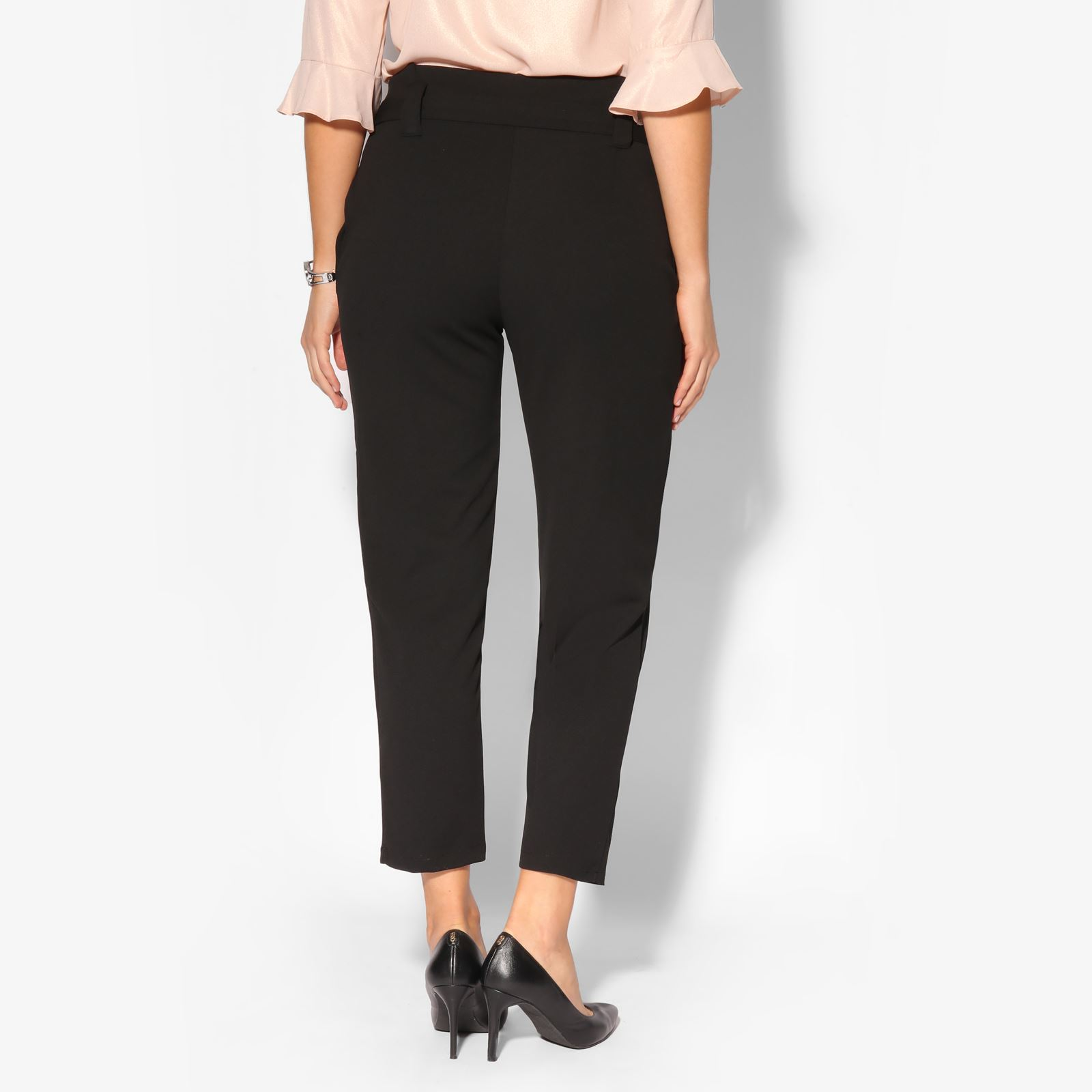 Women-High-Waist-Tapered-Pencil-Paperbag-Ladies-Trousers-Cigarette-Pants-Size thumbnail 3