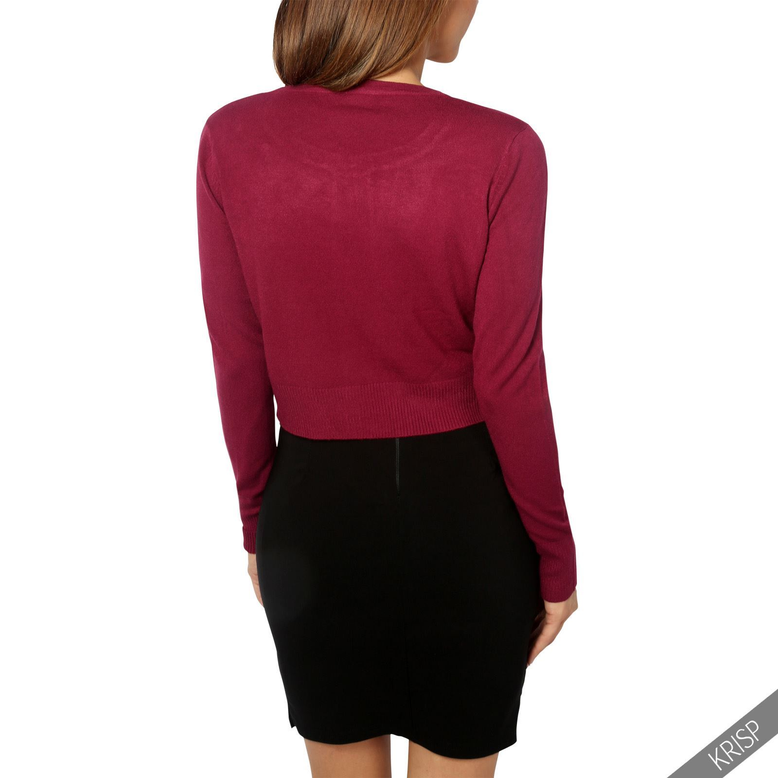 Womens-Ladies-Bolero-Shrug-Silky-Soft-Cardigan-Long-Sleeve-Knit-Short-Top-Work thumbnail 35