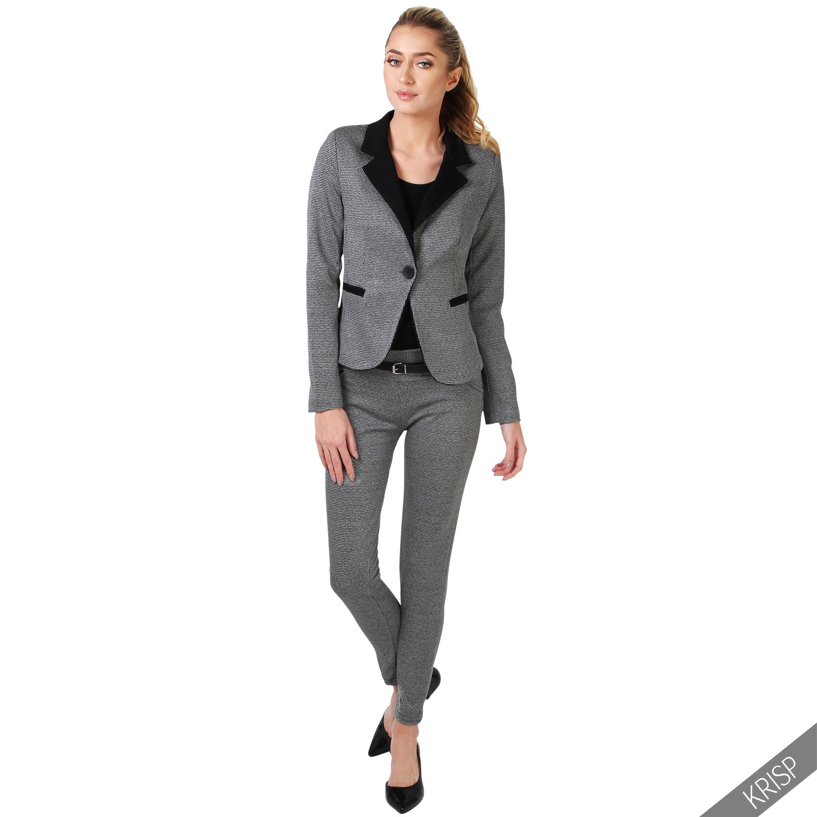 damen business hosenanzug eleganter blazer graue slim fit hose anzug set ebay. Black Bedroom Furniture Sets. Home Design Ideas