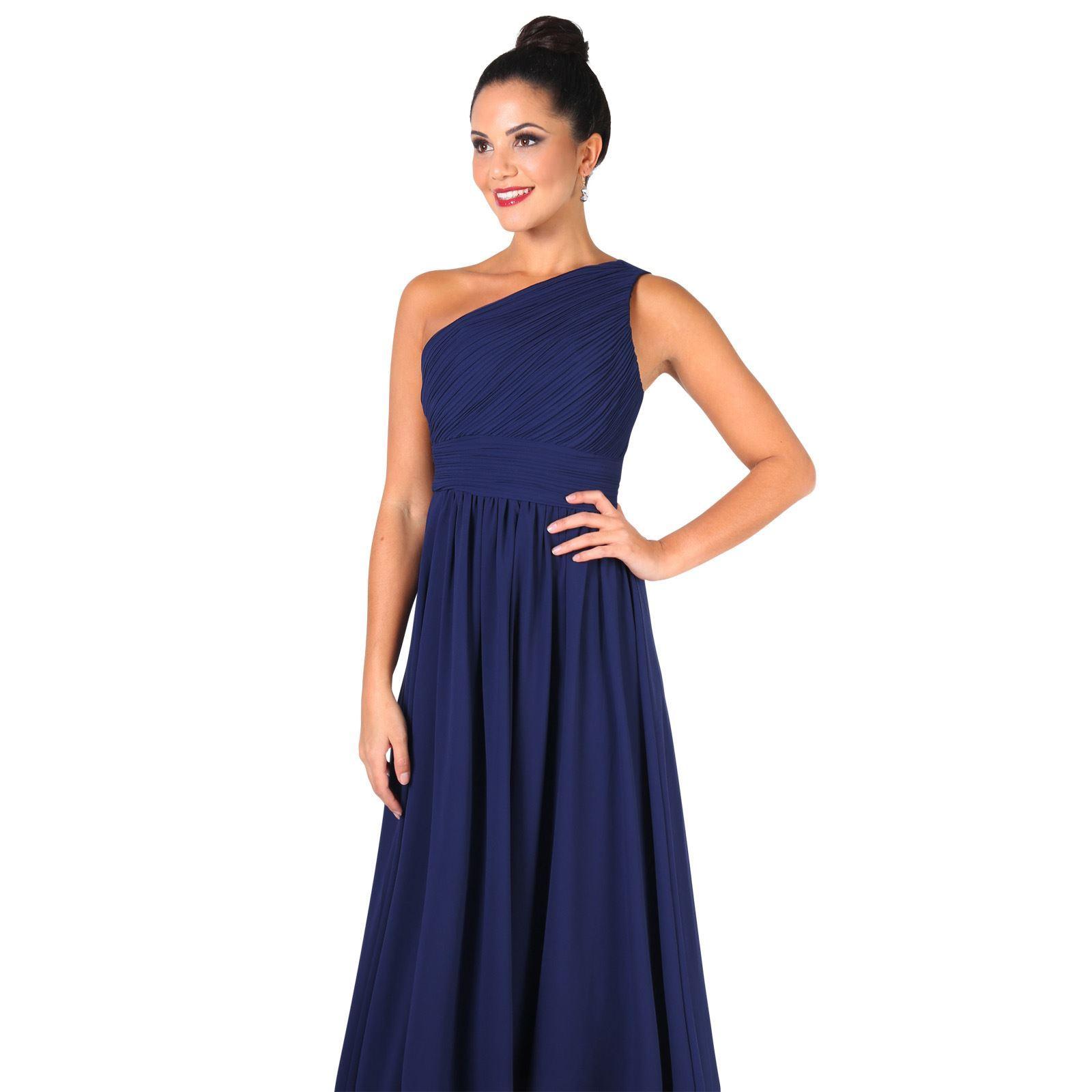 Womens-Wedding-Bridesmaid-Prom-Dress-Formal-One-Off-Shoulder-Long-Evening-8-18 thumbnail 46