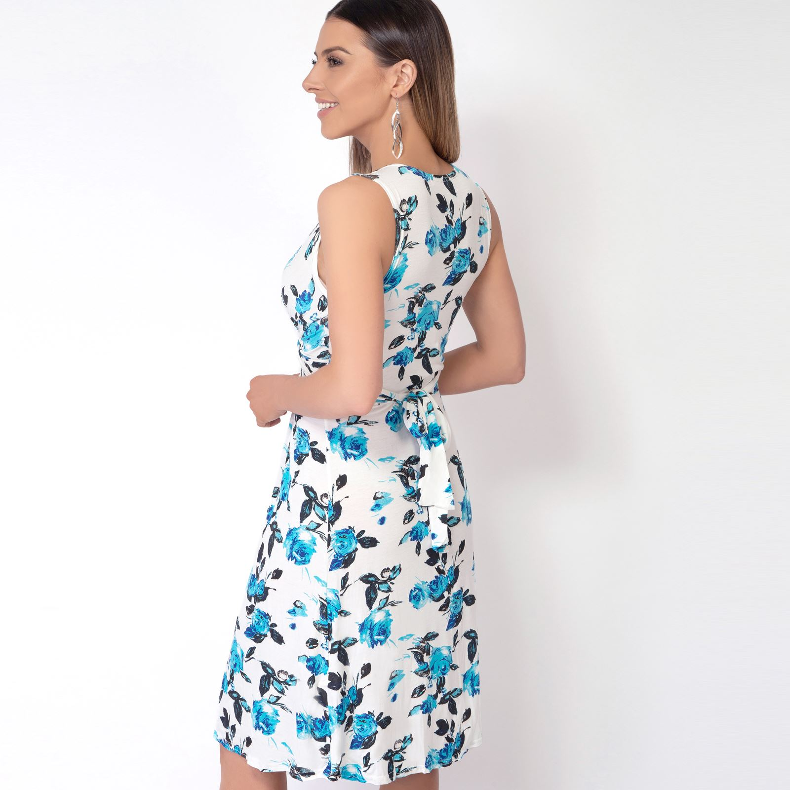 Womens-Floral-Print-Dress-Midi-Drape-Ruched-Front-Knot-Tie-Belt-Casual-Party thumbnail 13