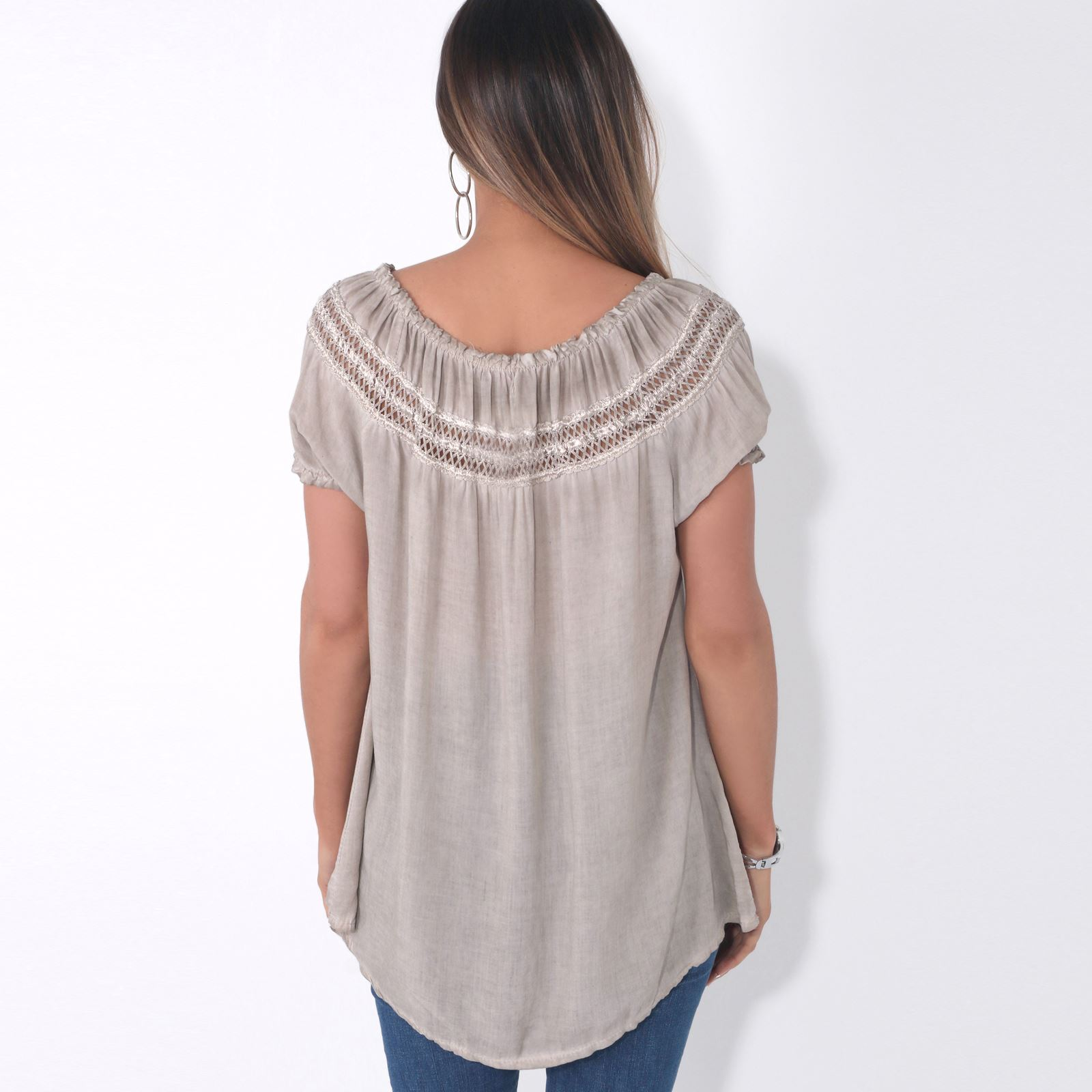 Womens-Off-Shoulder-Blouse-Gypsy-Boho-Cotton-T-Shirt-Top-Tunic-Summer-Loose-Fit thumbnail 13