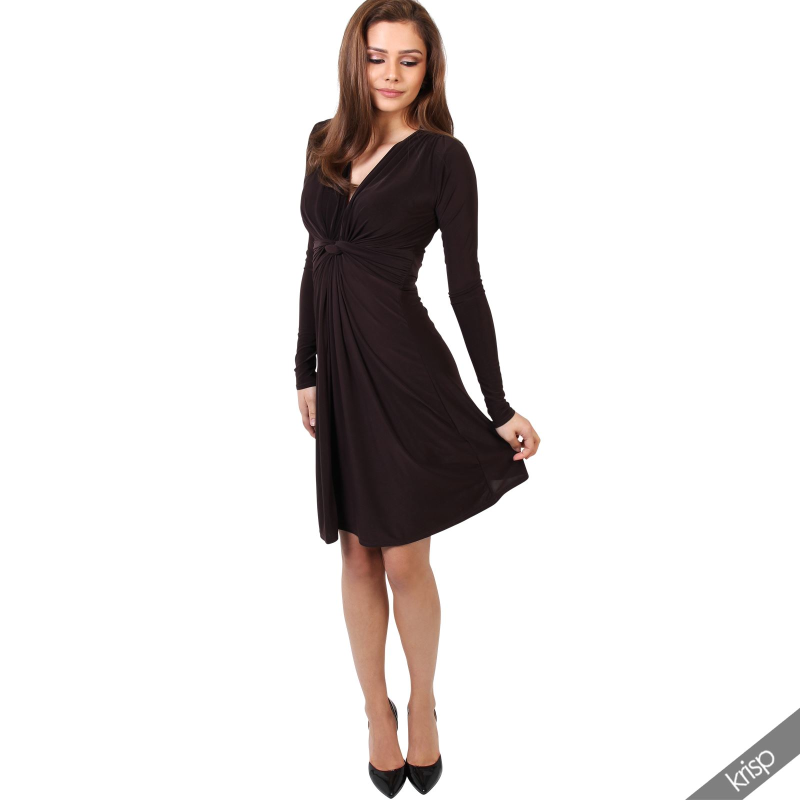 Womens-Ladies-V-Neck-Dress-Knee-Length-Mini-Ruched-Pleated-Swing-Top-Party thumbnail 27