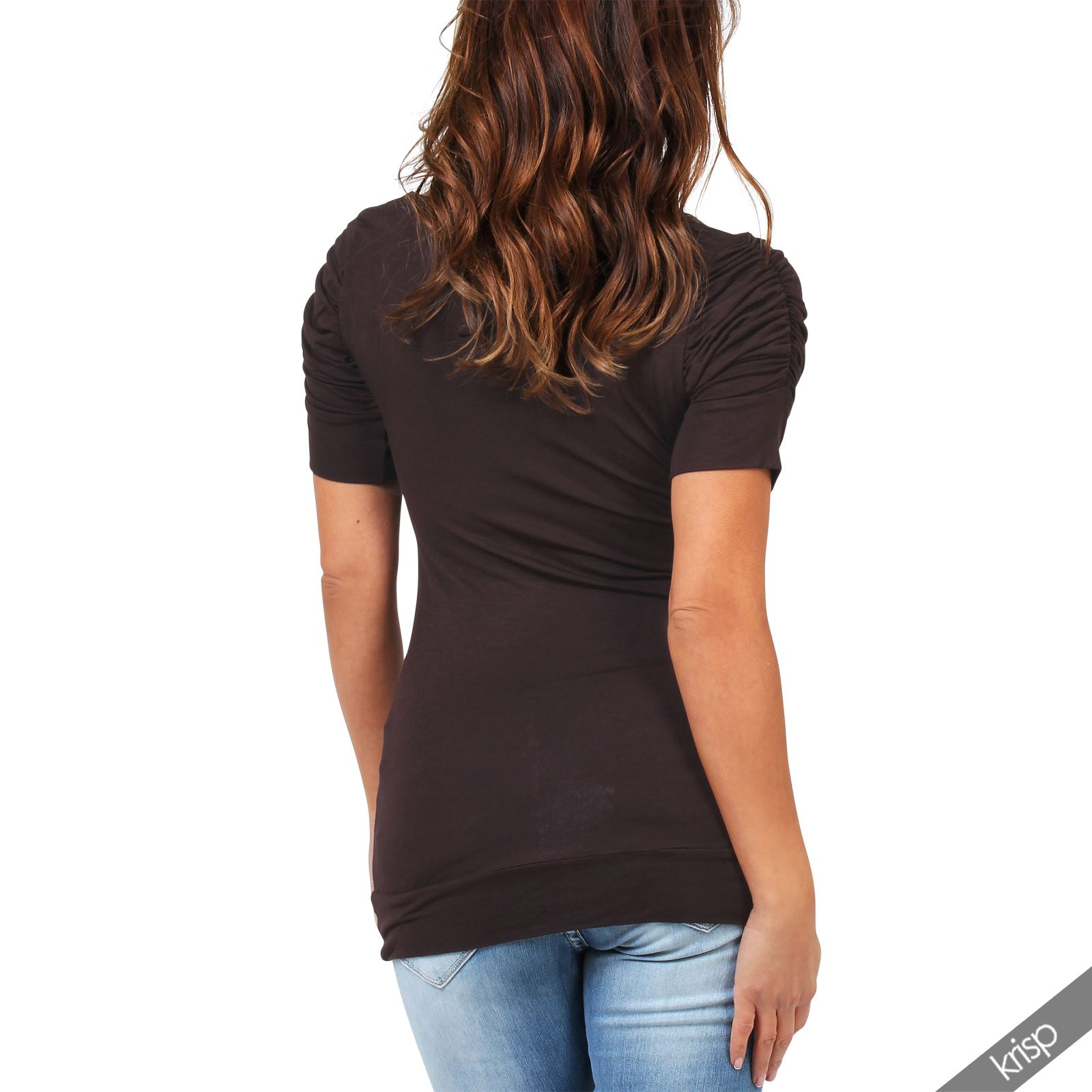 Womens-Ladies-Long-Blouse-Ruched-Pleated-Sleeve-Stretch-Jersey-Plunge-Top-Tshirt thumbnail 6