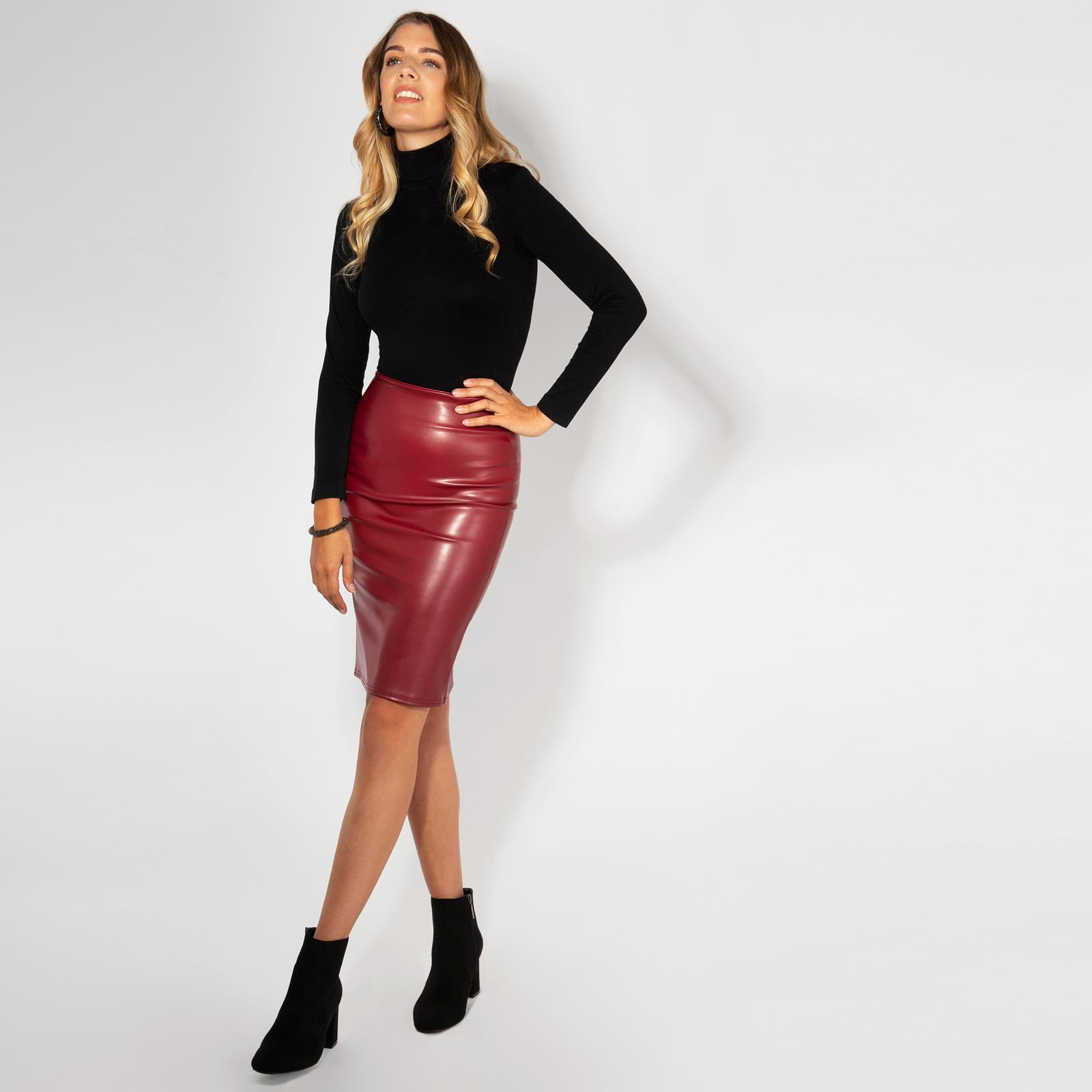Womens-Ladies-Leather-Pencil-Skirt-Sexy-Wet-Look-Stretch-PU-Mini-Midi-Bodycon thumbnail 12