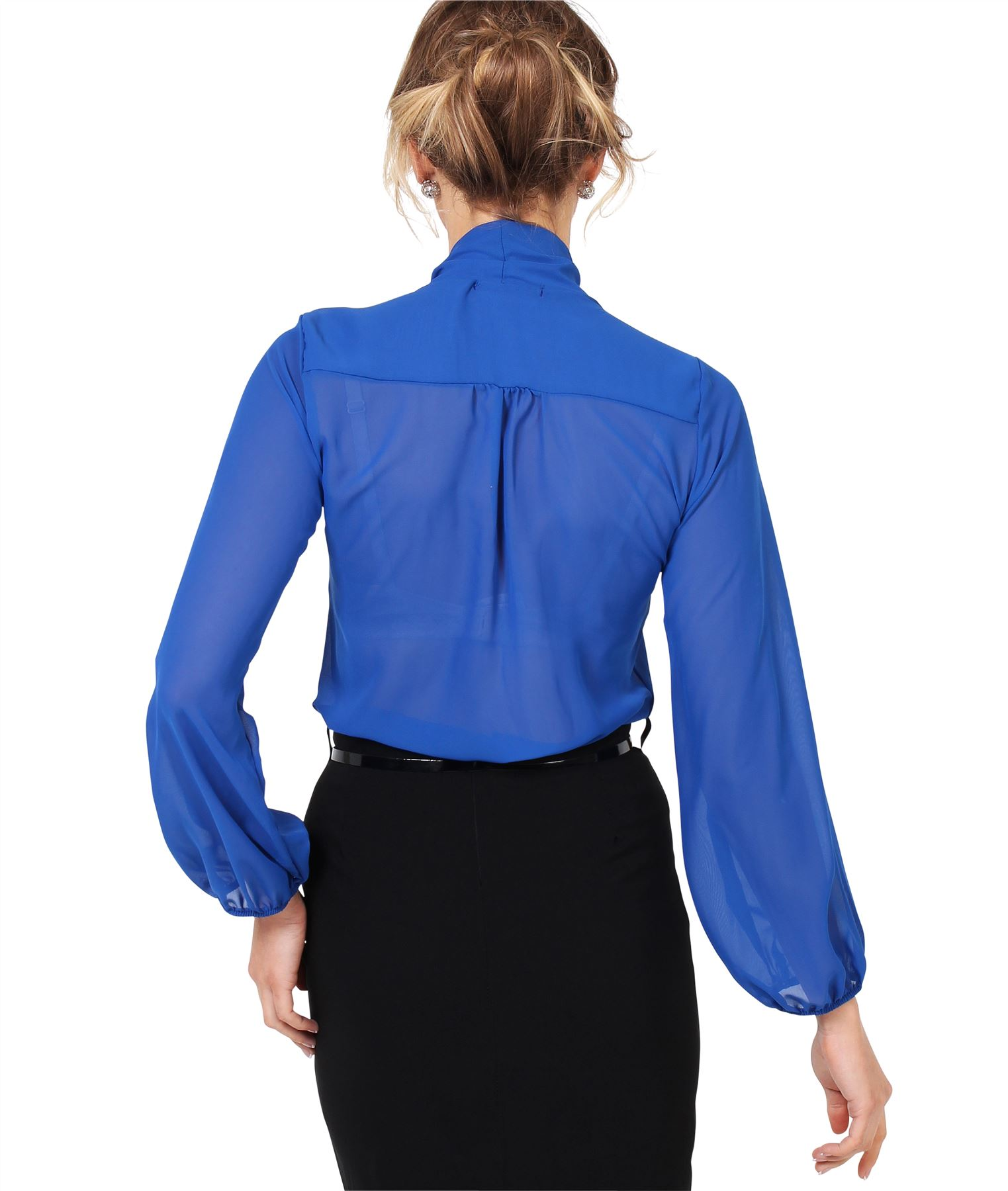 Womens-Ladies-Chiffon-Blouse-Long-Sleeve-Pussy-Bow-Top-Plain-Shirt-Office-Party thumbnail 18