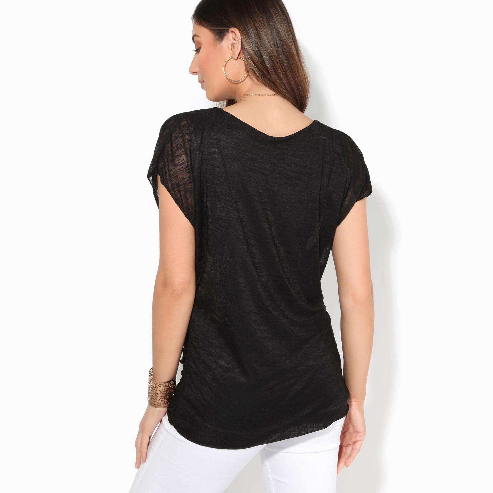 Womens-Ladies-Loose-Drape-T-Shirt-Pleated-Cowl-Neck-Top-Mesh-Tunic-Blouse-2-in-1 thumbnail 3