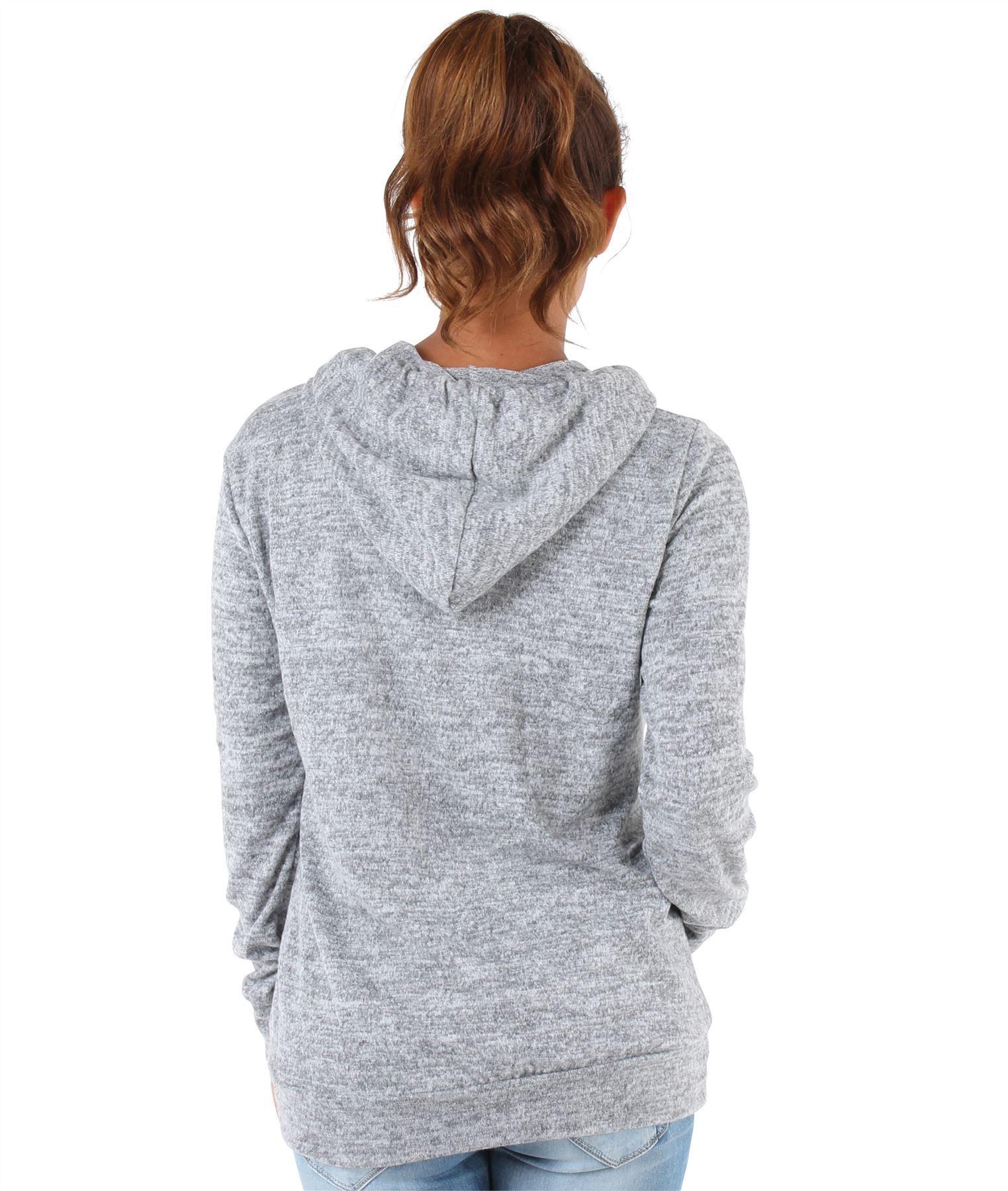Womens-Soft-Marl-Knit-Hoodie-Hooded-Loose-Baggy-Jumper-Sweater-Top-Sweatshirt thumbnail 9