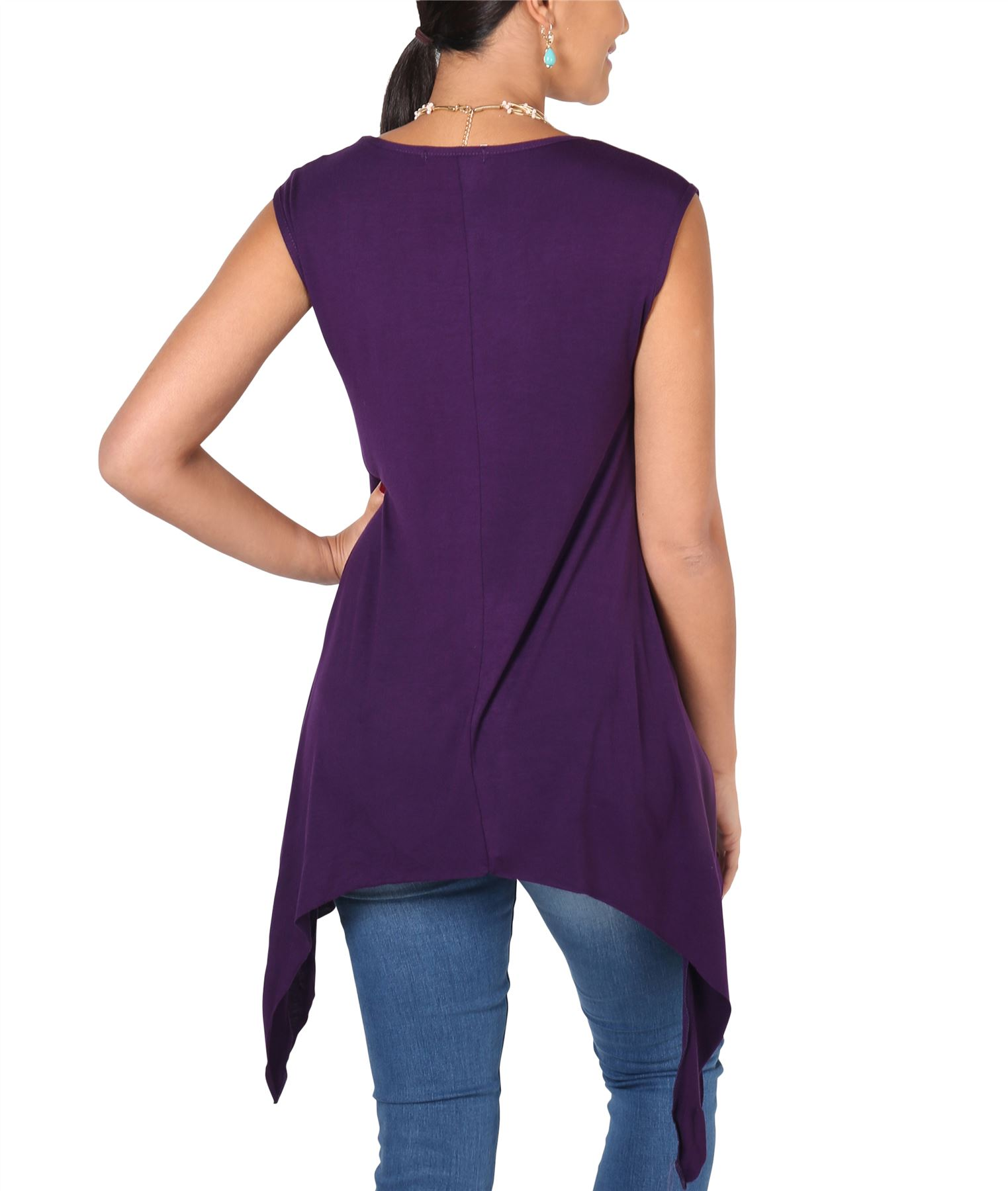 Women-Long-Top-Sleeveless-Pleated-Tee-Shirt-Tunic-Jersey-Stretch-Loose-Fit thumbnail 23