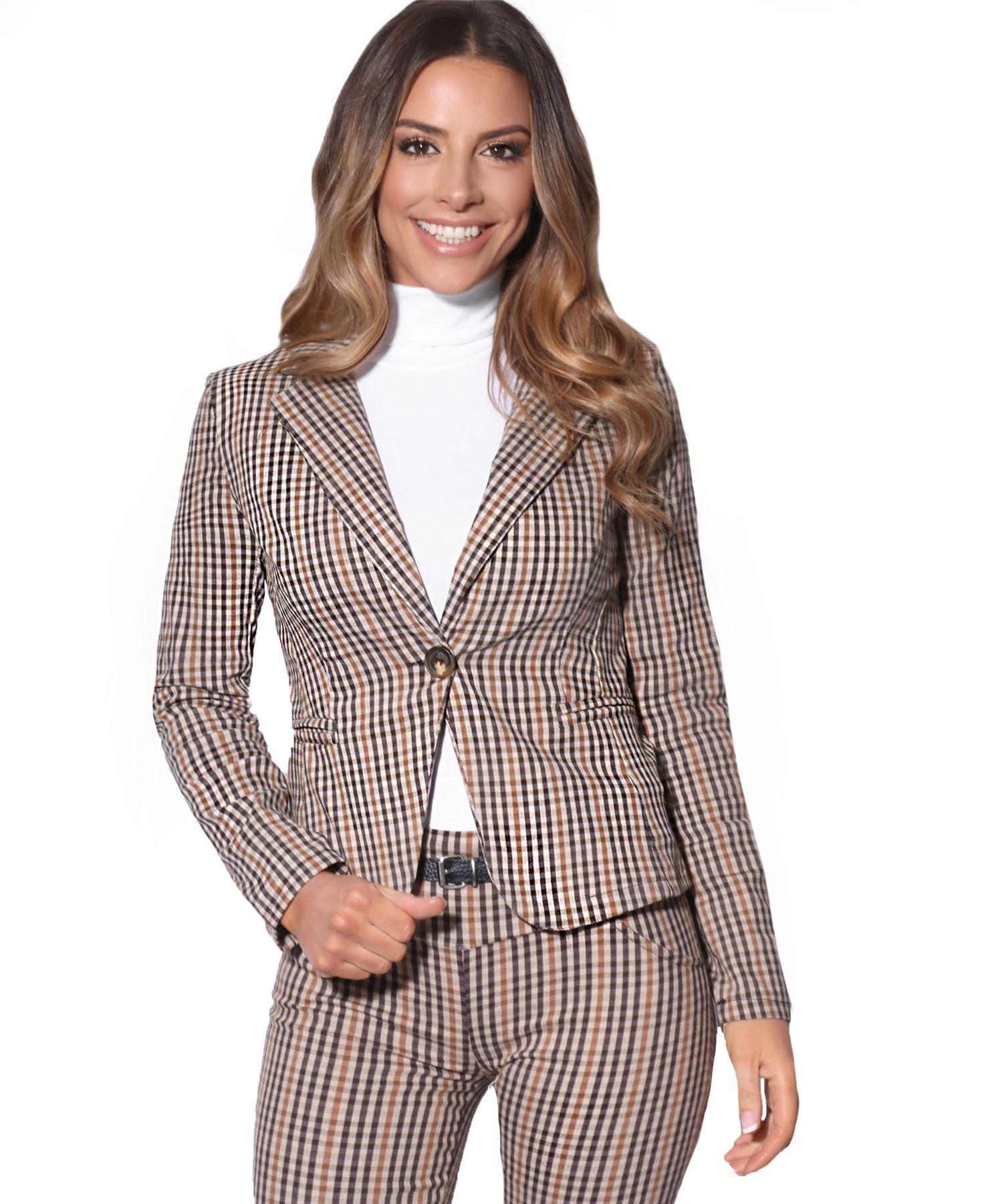 Blazers Box Office: Womens Check Work Suit Woven Office Blazer Jacket Stretch